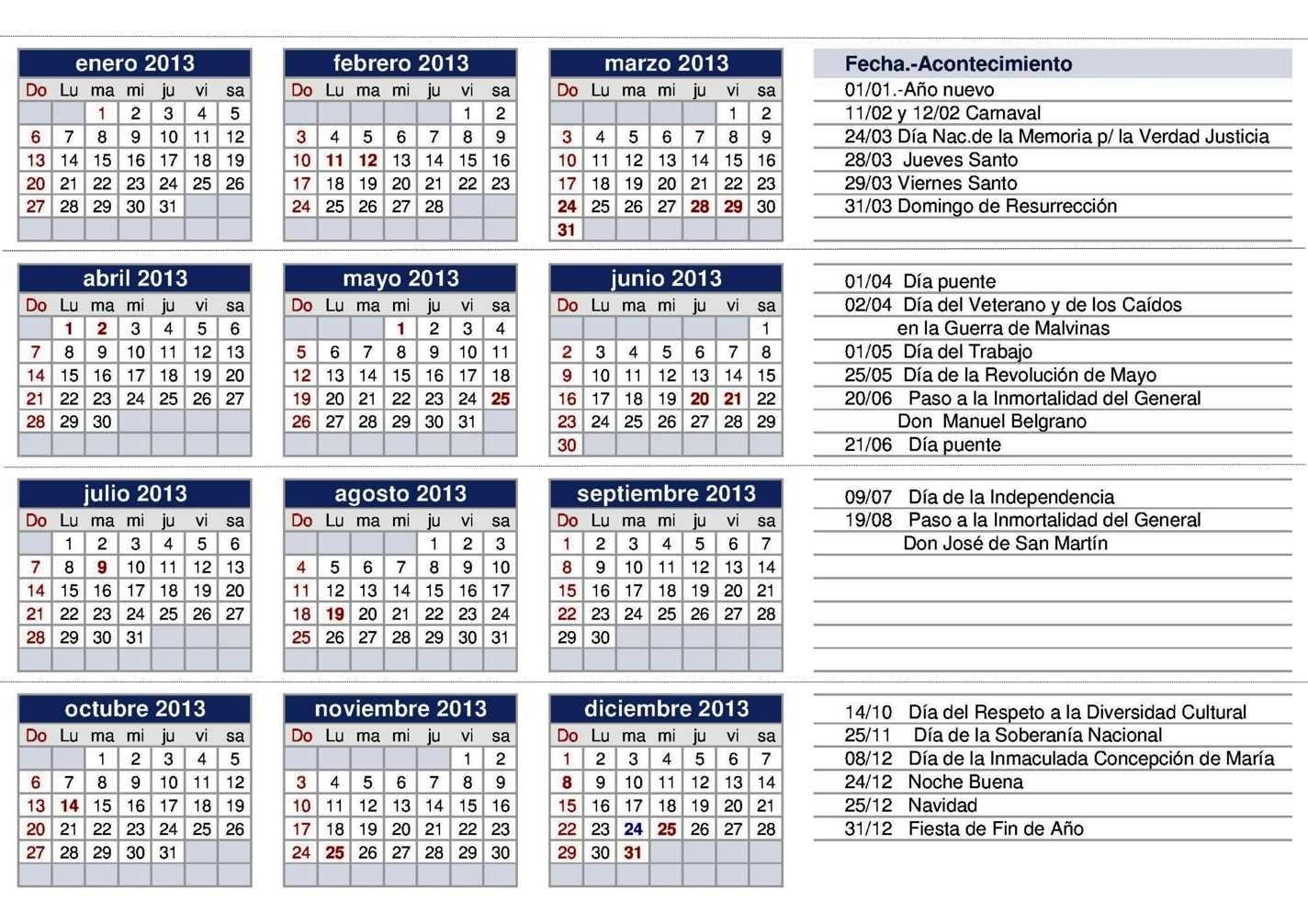 Calendario 2013 Para Imprimir | Usgvox.nl inside Calendrio 2013 Para Imprimir Gratis
