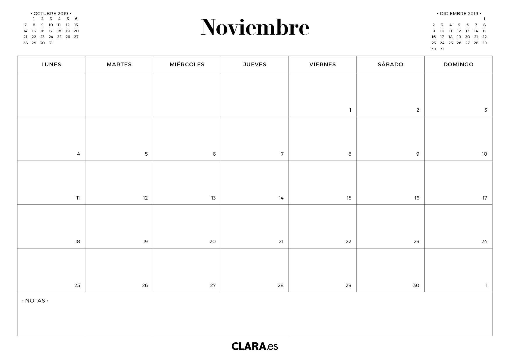 Calendario Noviembre 2019 Para Imprimir Gratis (En Pdf Y Jpg) in Calendrio 2013 Para Imprimir Gratis