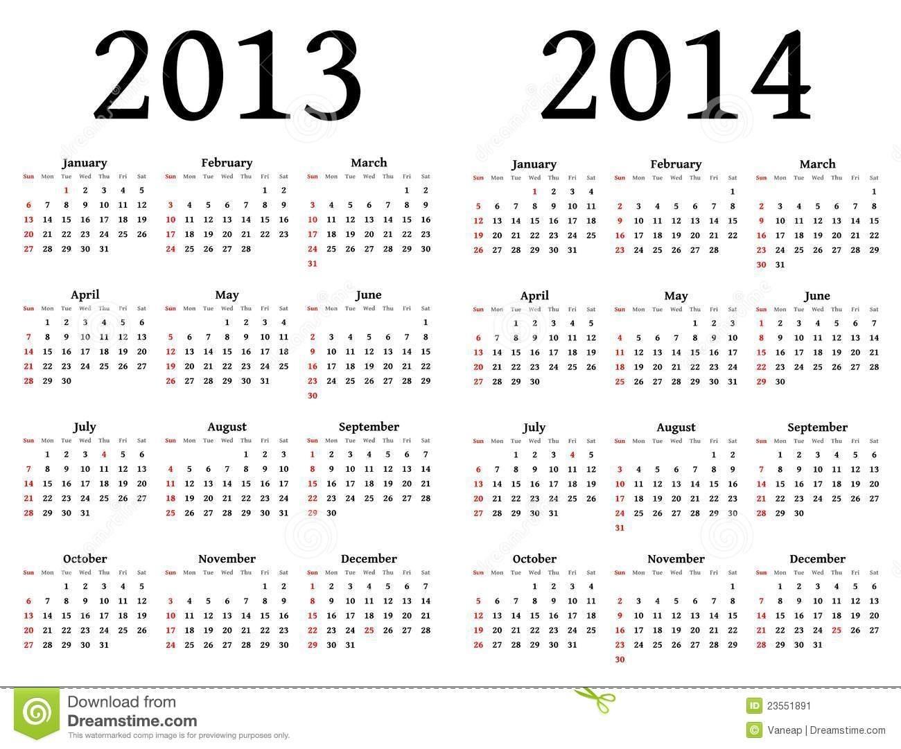 Calendarios Para 2013 Y 2014 Ilustración Del Vector - Ilustración De regarding Calendrio 2013 Para Imprimir Gratis
