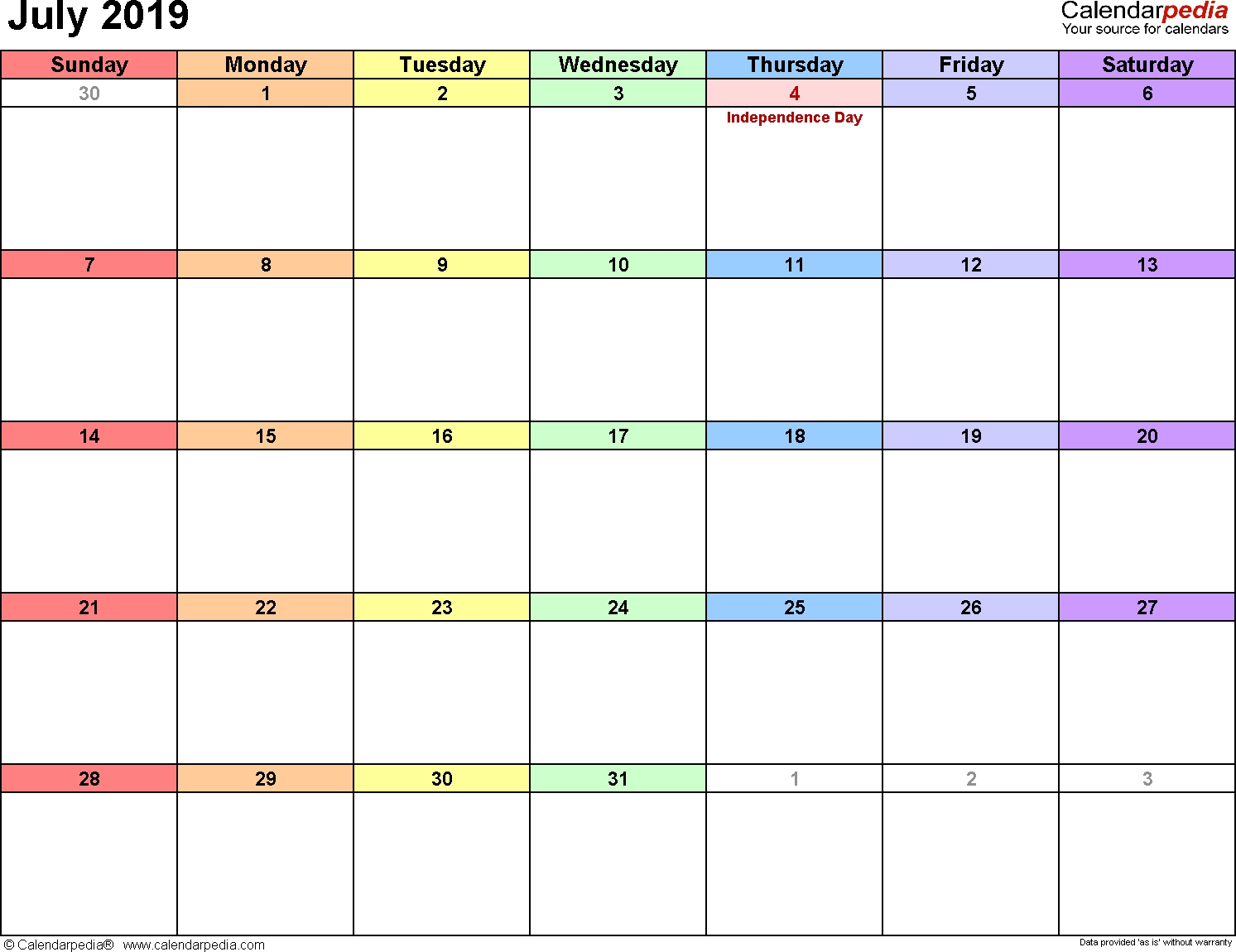 Calendarpedia - Your Source For Calendars with regard to Calendar Maker July 2019-June 2020