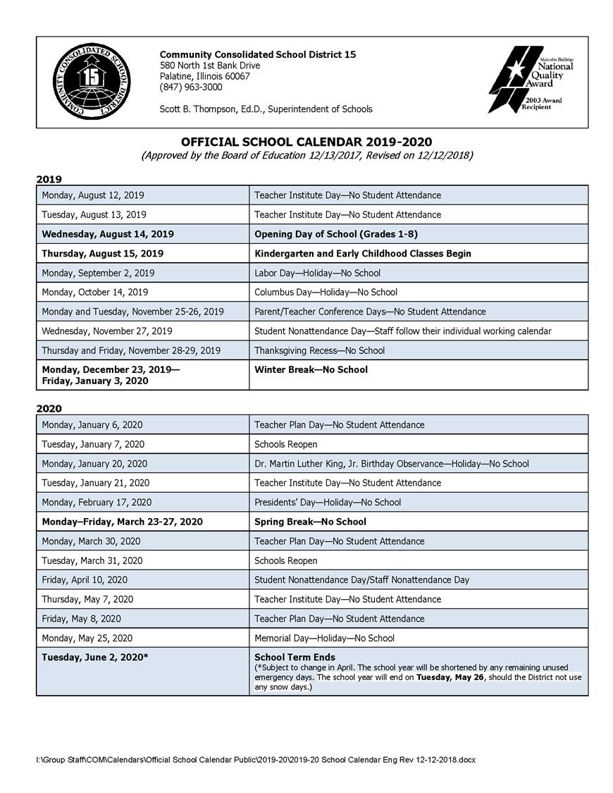 Calendars / 2019-20 Official School Calendar with regard to Year Calendar 2020 Special Days