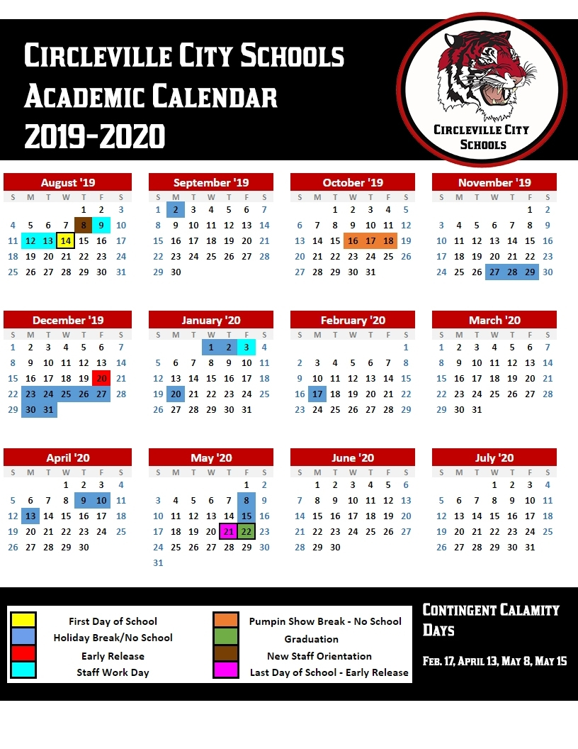 Circleville City Schools News Article pertaining to 2019-2020 Special Calendar Days