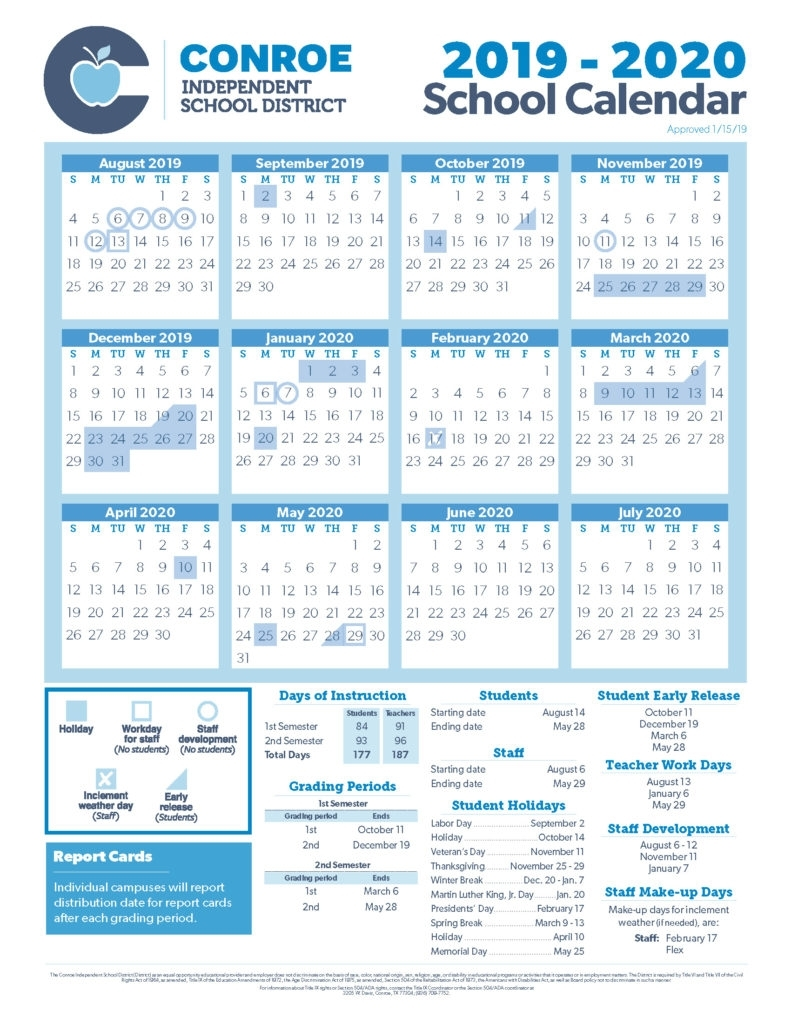 Conroe Isd Trustees Approve 19-20 School Calendar - Conroe Isd throughout Calendar With Special Days 2020