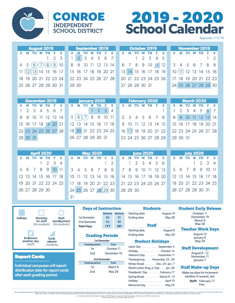 Conroe Isd Trustees Approve 2019-2020 School Calendar | Hello Woodlands with regard to Pshe Special Days Calender 2020