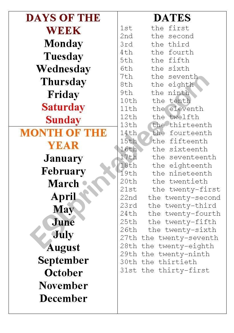 Day Month Date - Esl Worksheetghoksana with Days Of The Month Images