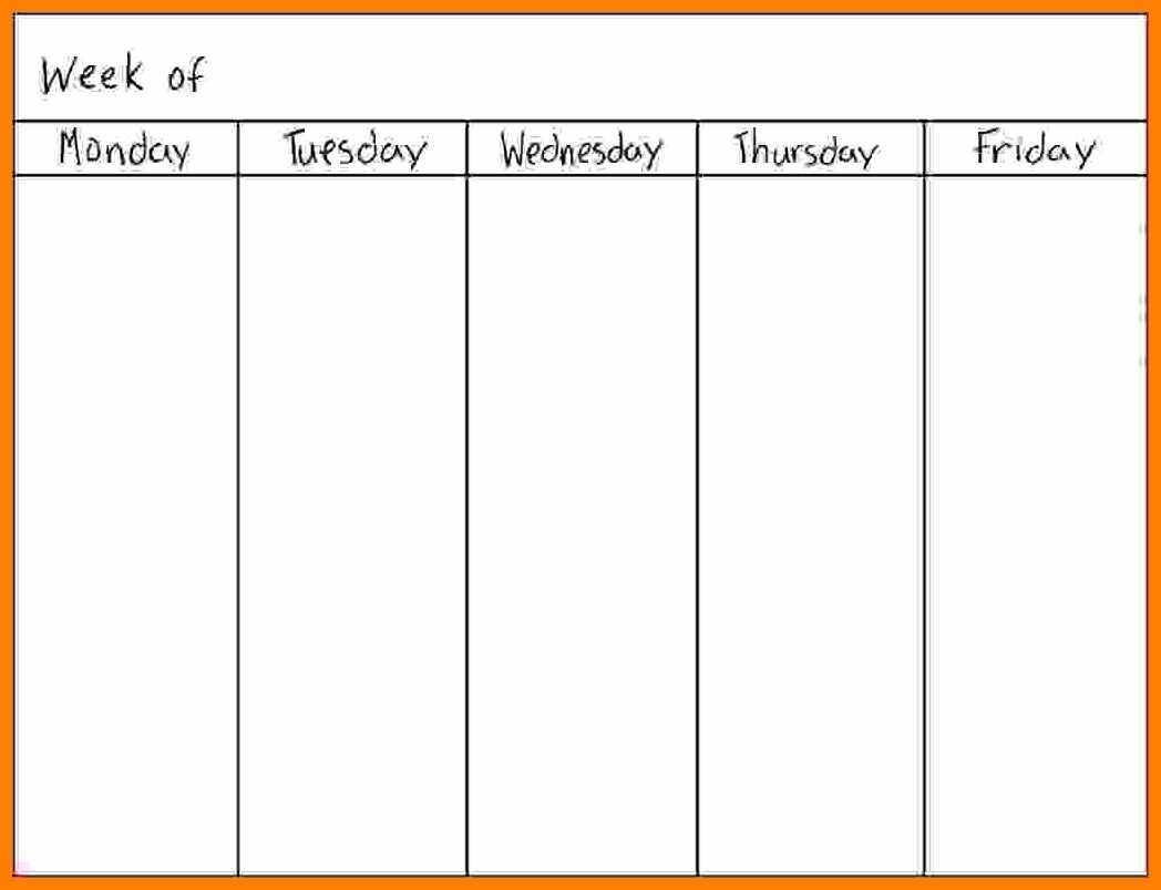 Day Of The Week Calendar Free Blank 5 Day Weekly Calendar 2018 in Free Printable 5 Day Calendar