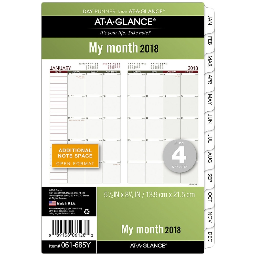 "Day Runner 061685Y 5 1/2"" X 8 1/2"" Monthly Planning Pages 2020 inside 8.5 X 11 Calander Filler For 2020"