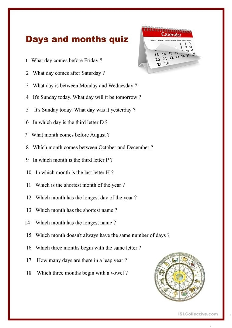 Days And Months Quiz Worksheet - Free Esl Printable Worksheets Made throughout Days Of The Month Images