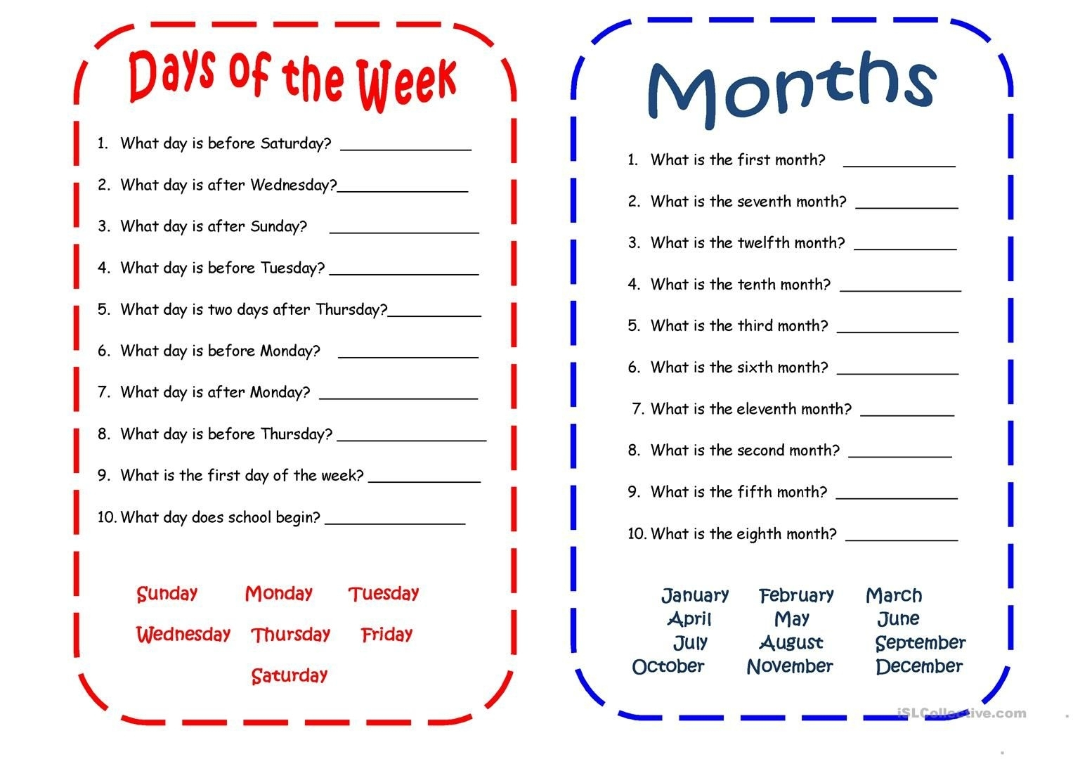 Days And Months Worksheet - Free Esl Printable Worksheets Made with regard to Days Of The Month Images