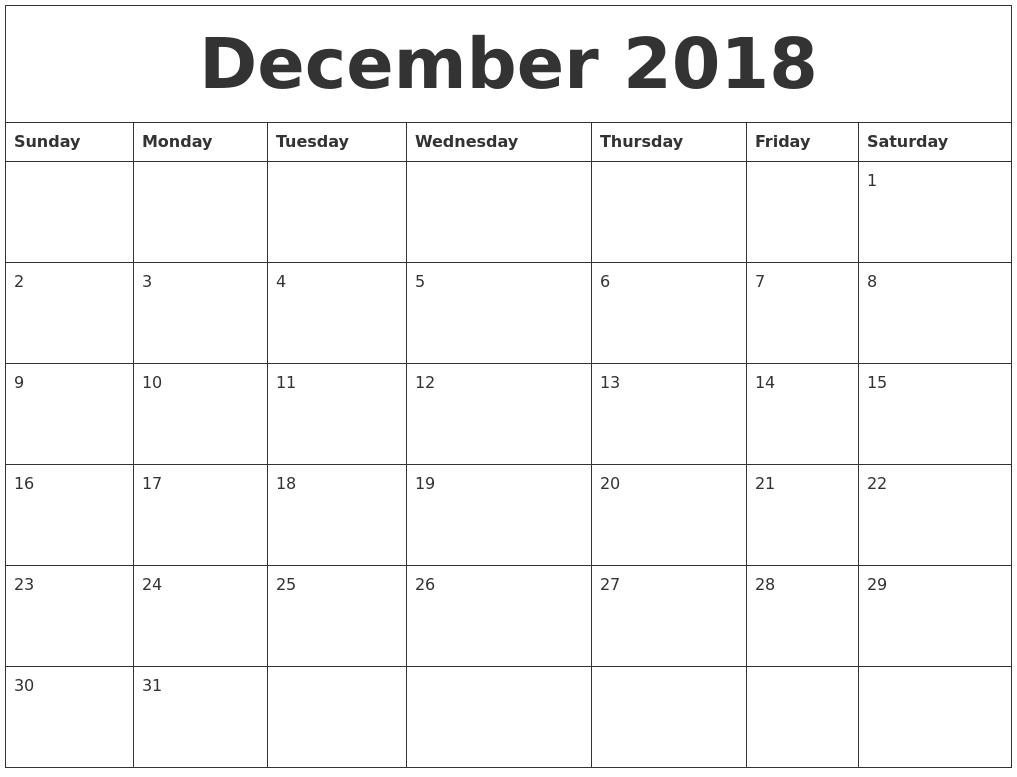 December 2018 Free Printable Calendar Templates with regard to Printable Calendar Templates Full Page