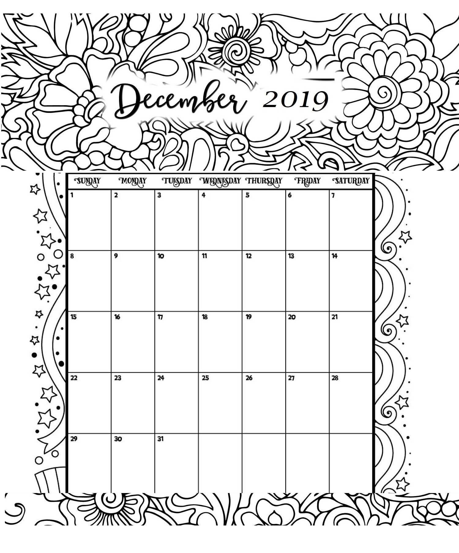 December Printable Coloring Calendar 2019 | Bullet Journal intended for Printable Coloring Calendar 2020