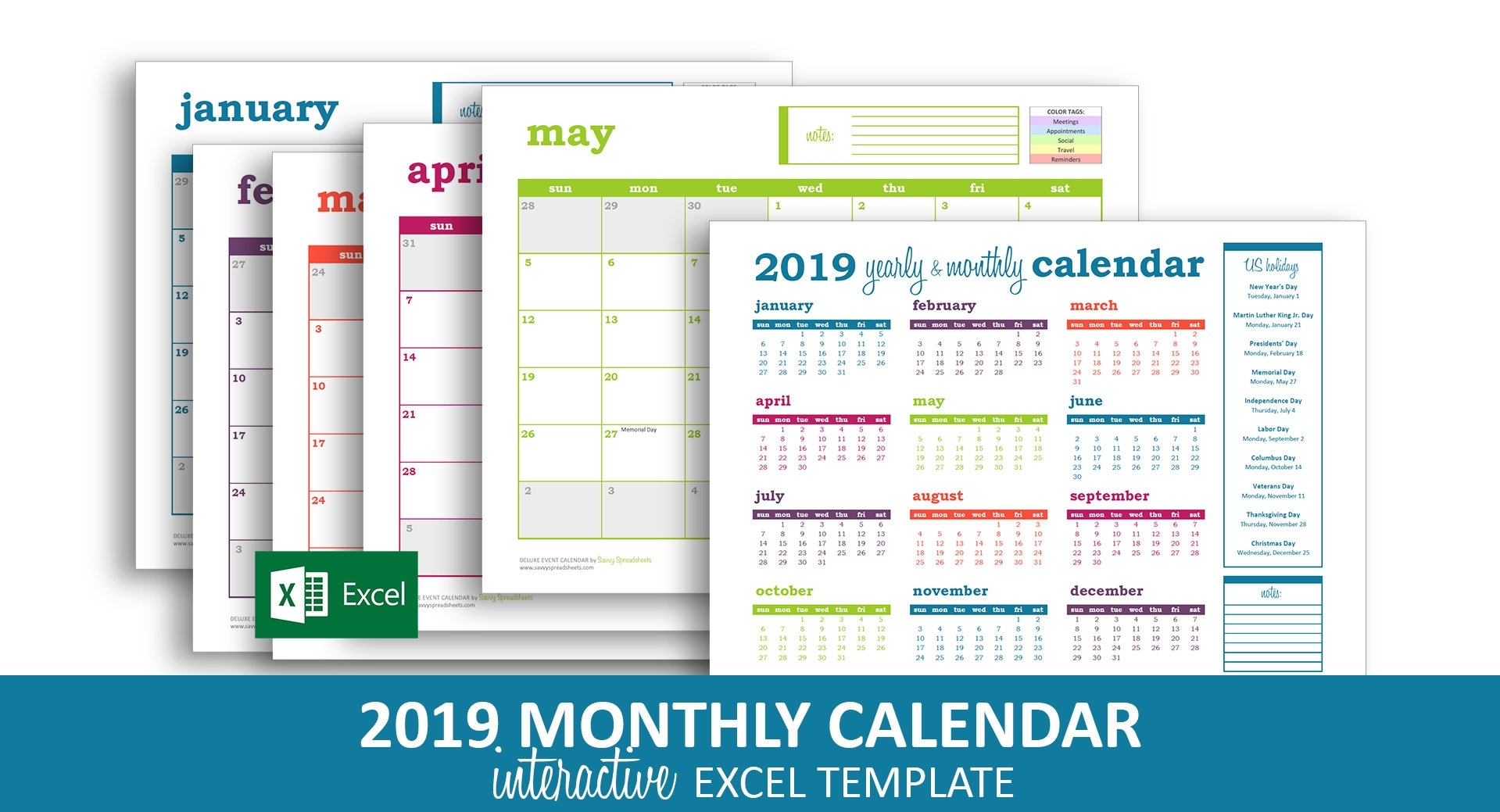 Deluxe Event Calendar 2019 Excel Template Printable | Etsy pertaining to Calendar 2020 Excell Romania