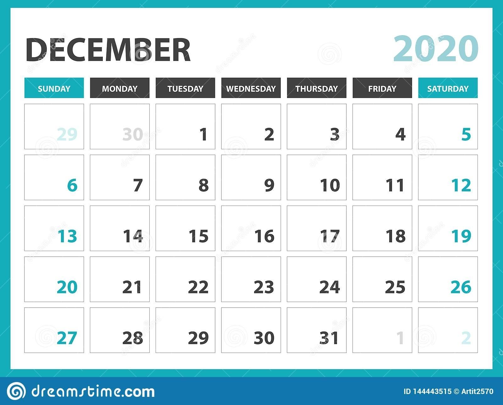 Desk Calendar Layout Size 8 X 6 Inch, December 2020 Calendar intended for Calendar Template Monday To Sunday