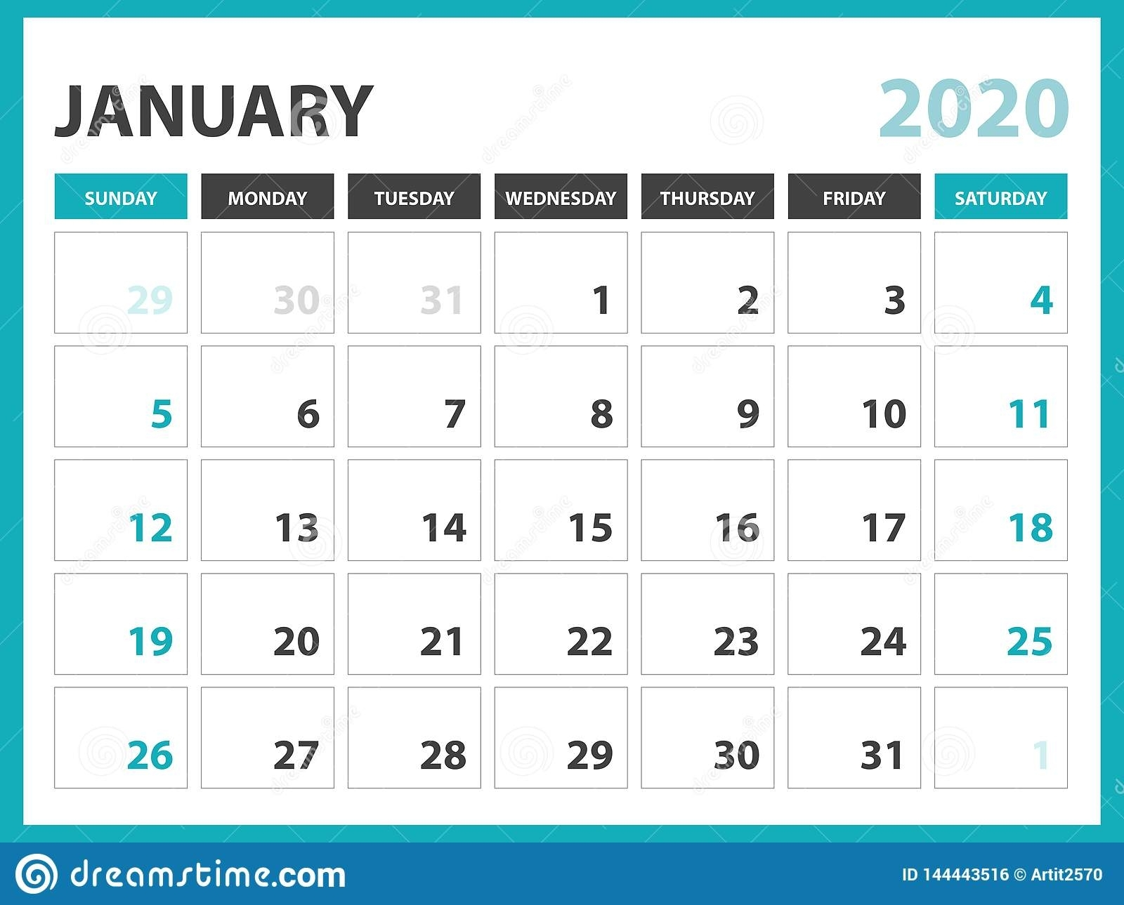 Desk Calendar Layout Size 8 X 6 Inch, January 2020 Calendar Template with Pretty Printable Calendar 2020 Without Download