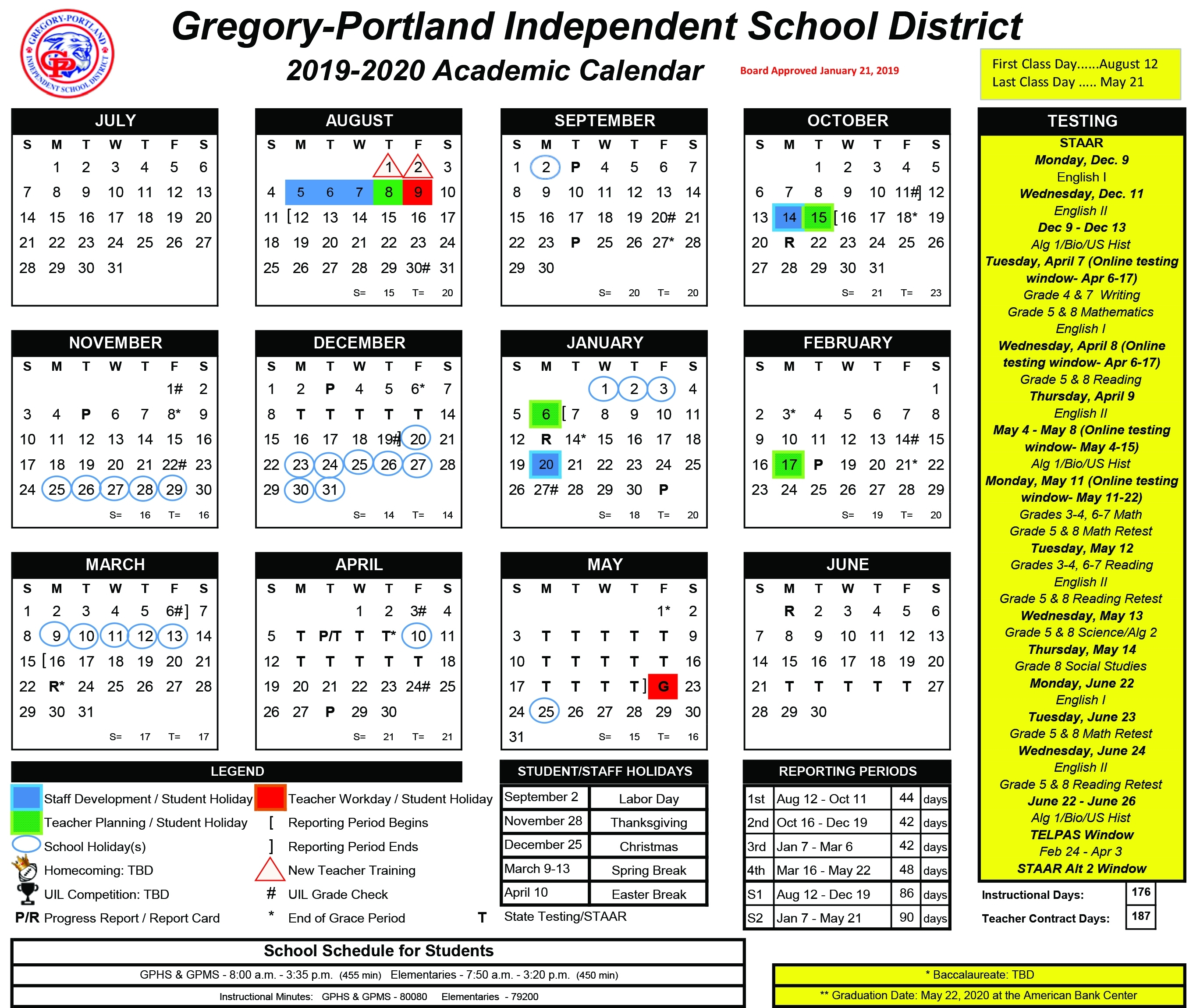District Calendar, 2019-20 - Gregory-Portland Independent School for Sfasu School Schedule 2019 2020