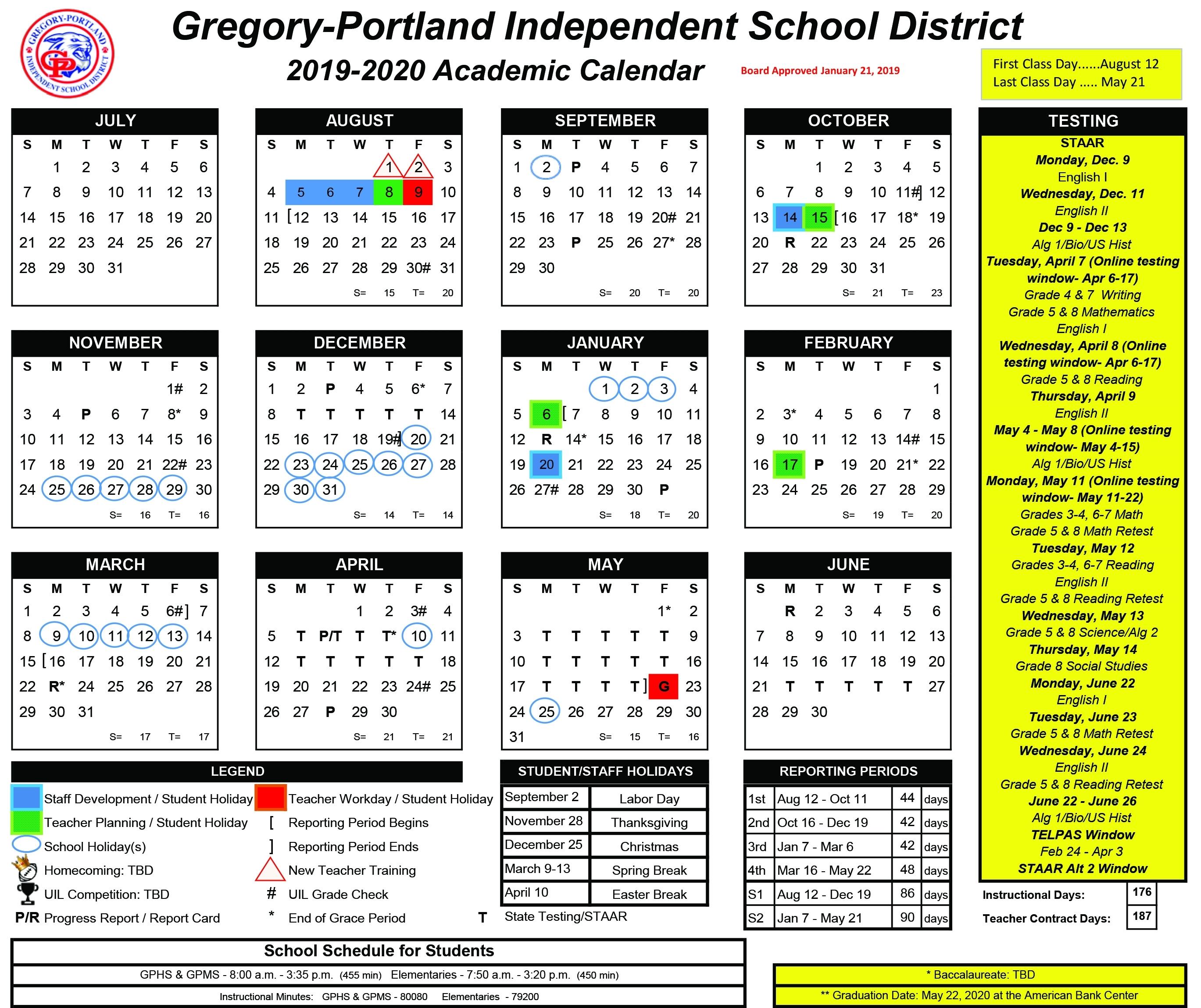 District Calendar, 2019-20 - Gregory-Portland Independent School regarding Pshe Special Days Calender 2020