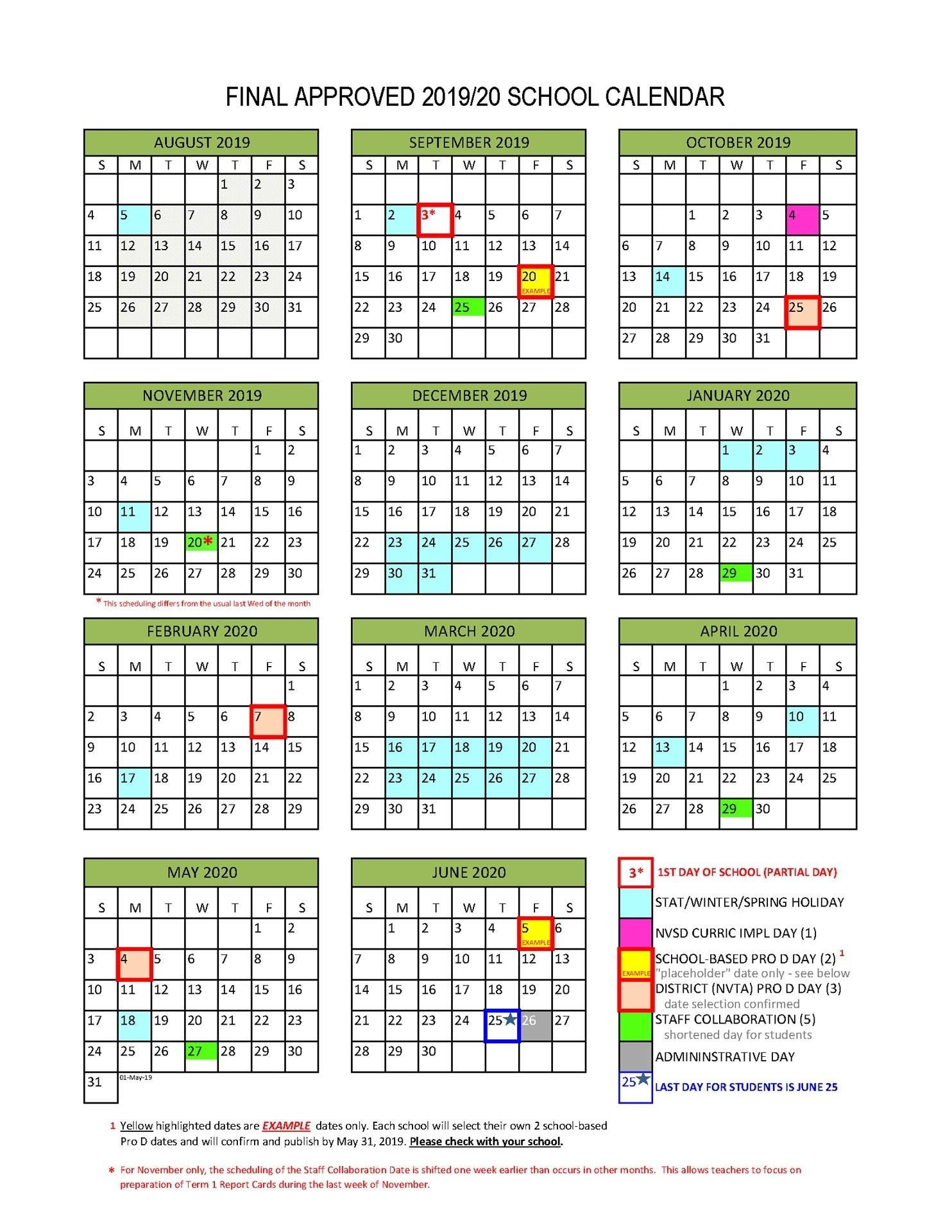 District Calendar - North Vancouver School District in Unit 4 Calendar 2019-2020