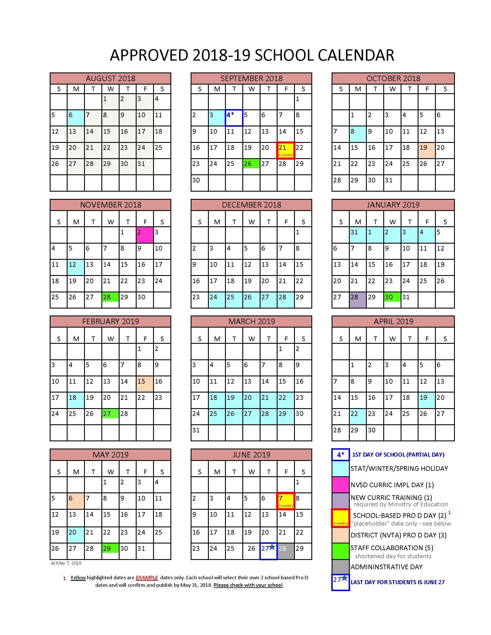 District Calendar - North Vancouver School District intended for U Of T 2019 2020 Calendar
