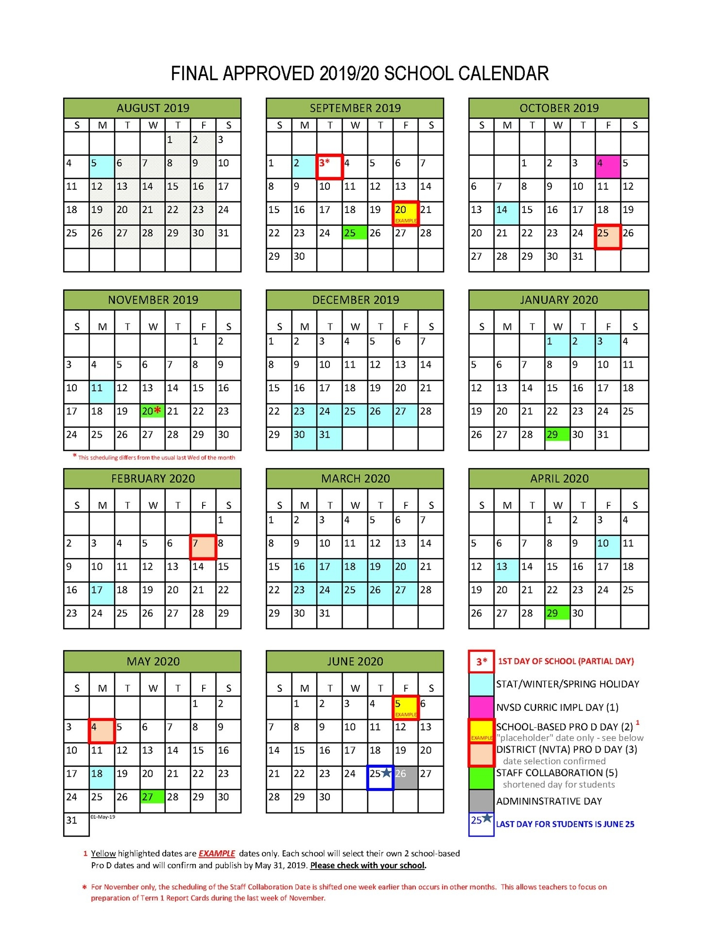 District Calendar - North Vancouver School District regarding Calendar 2019-2020 Important Dates