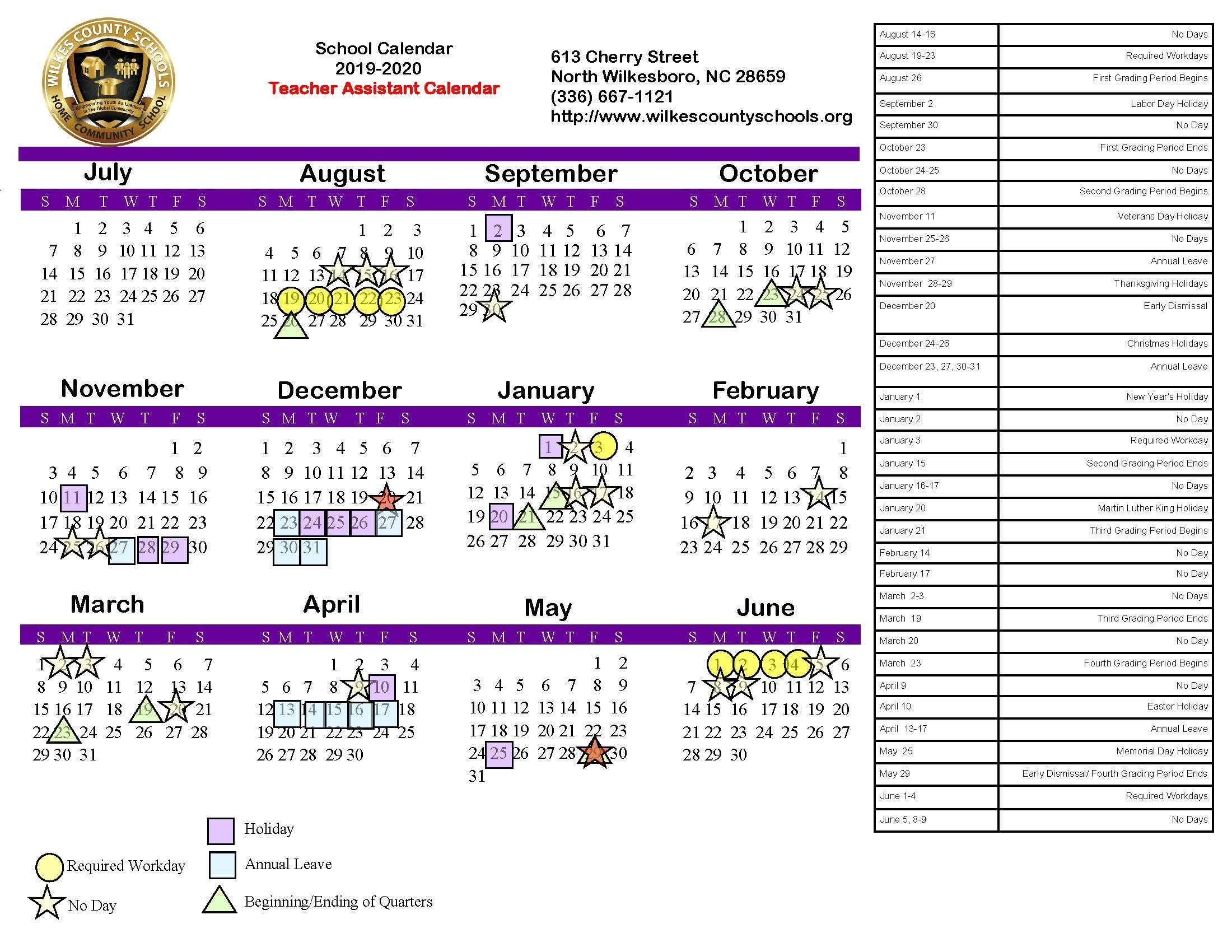 District Calendars – District – Wilkes County Schools within U Of R 2020 Calendar
