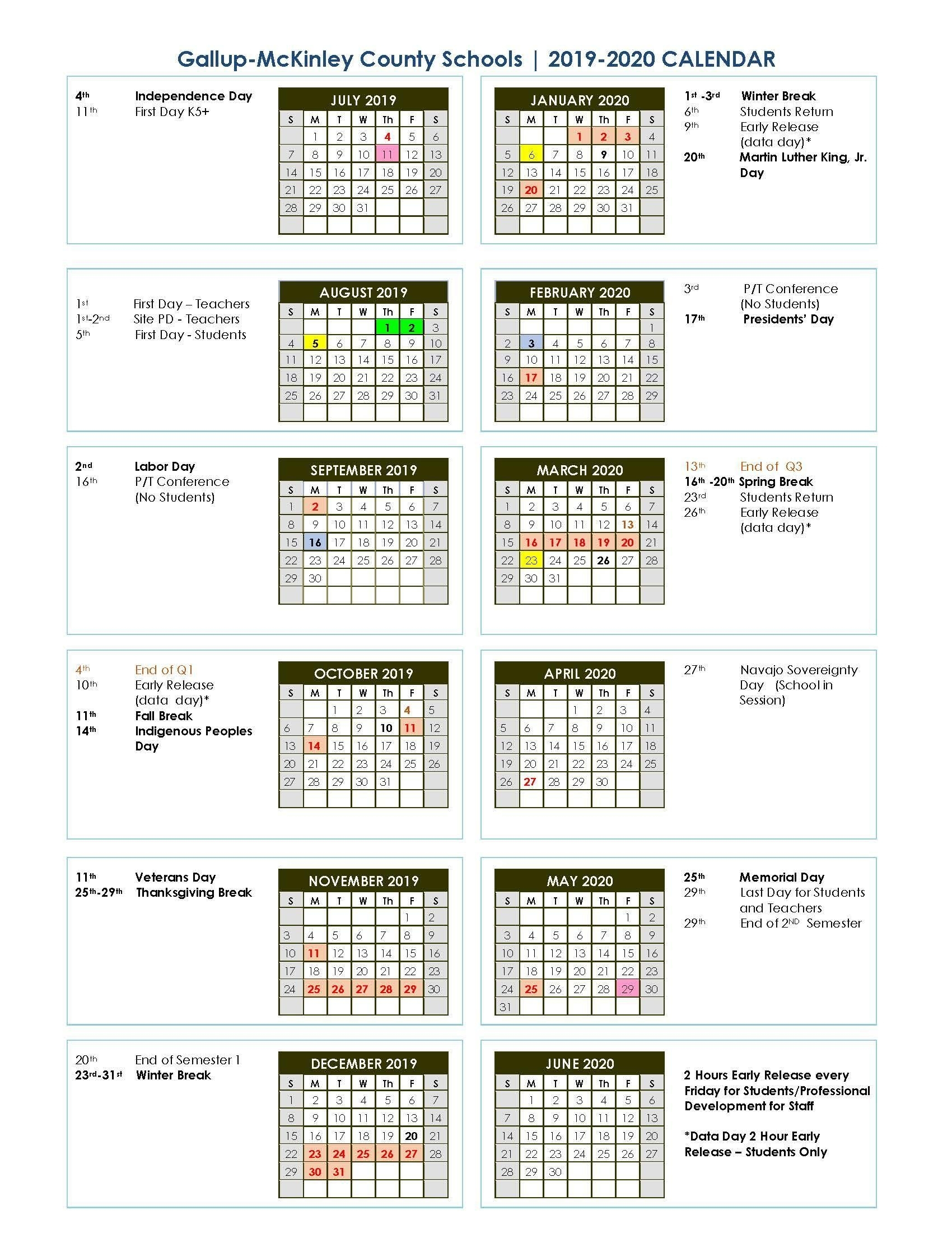 District School Year Calendar/graduation Dates – Parents – Gallup throughout 2019 2020 Calendar Unm