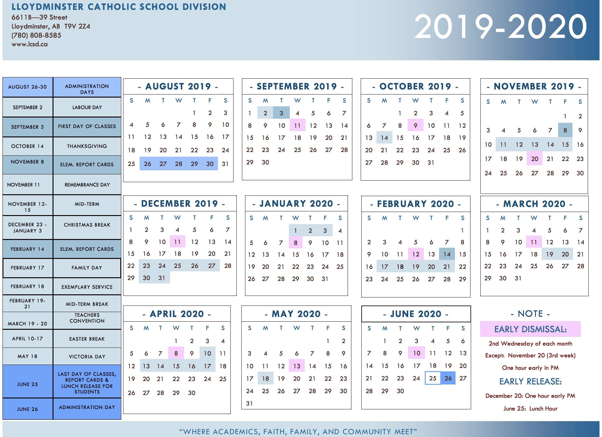Division Calendar - Lloydminster Catholic School Division inside June 2019 To May 2020 Calendar