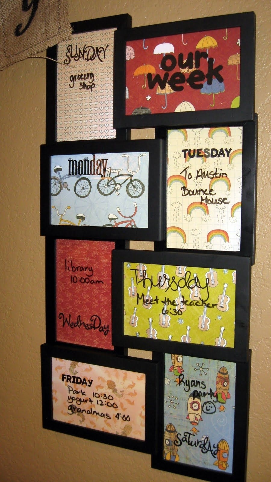 Diy Dry Erase Weekly Plannerput Meal Ideas On Each Frame Then regarding 12 X 12 Wall Calendar Holder