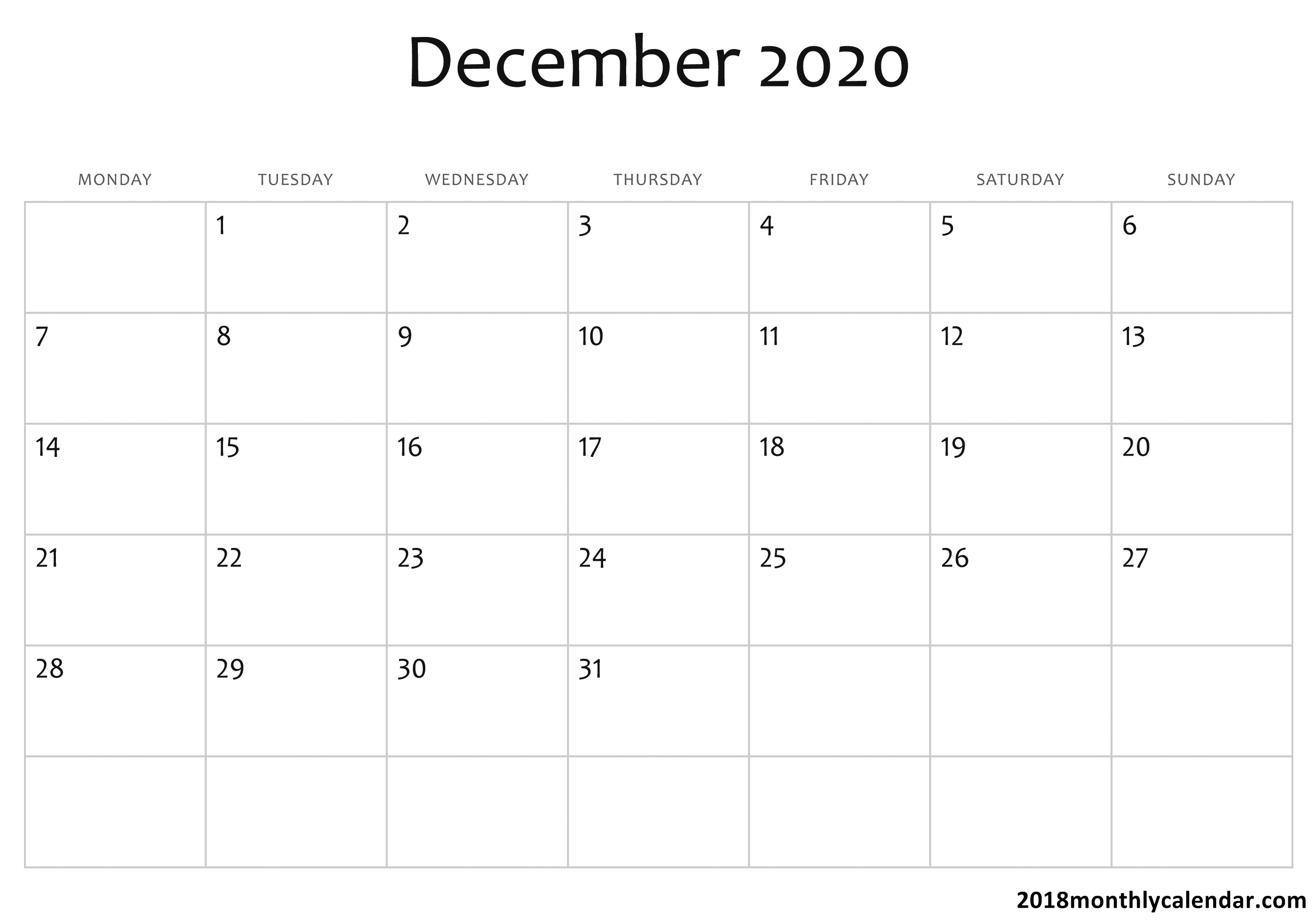 Download December 2020 Calendar – Blank & Editable in Printable 2020 Calendar I Can Edit