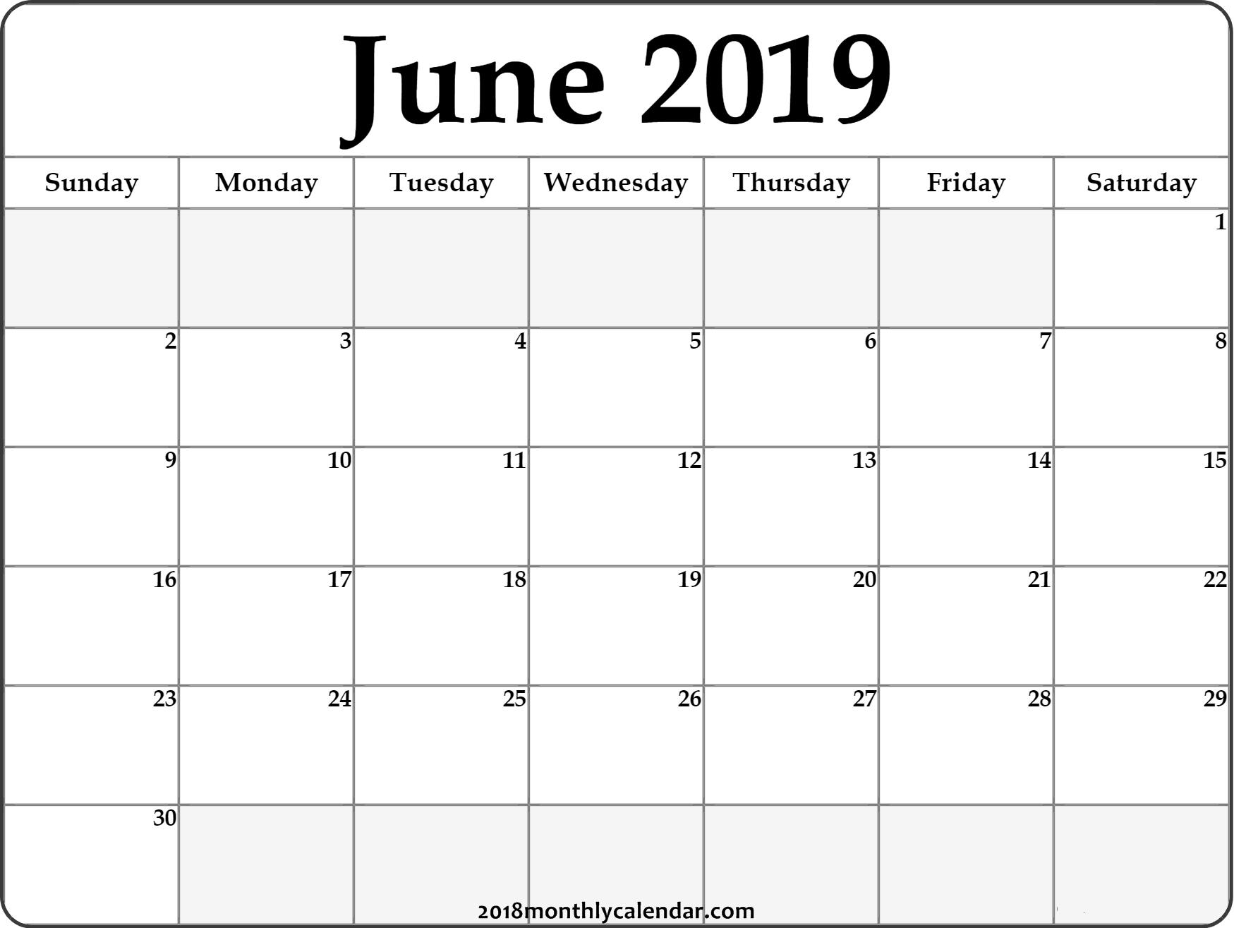 Download June 2019 Printable Calendar - Printable Blank & Editable with regard to Printable Calendar June 2019 To June 2020
