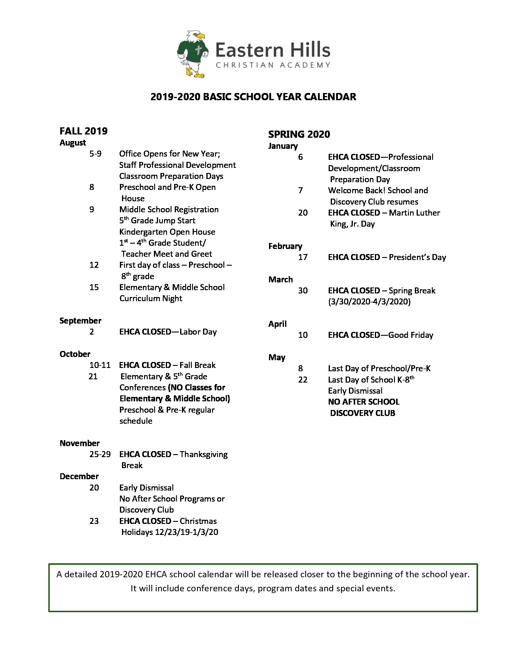 Eastern Hills Christian Academy | Preschool Elementary Middle School throughout Unm Calendar 2019-2020