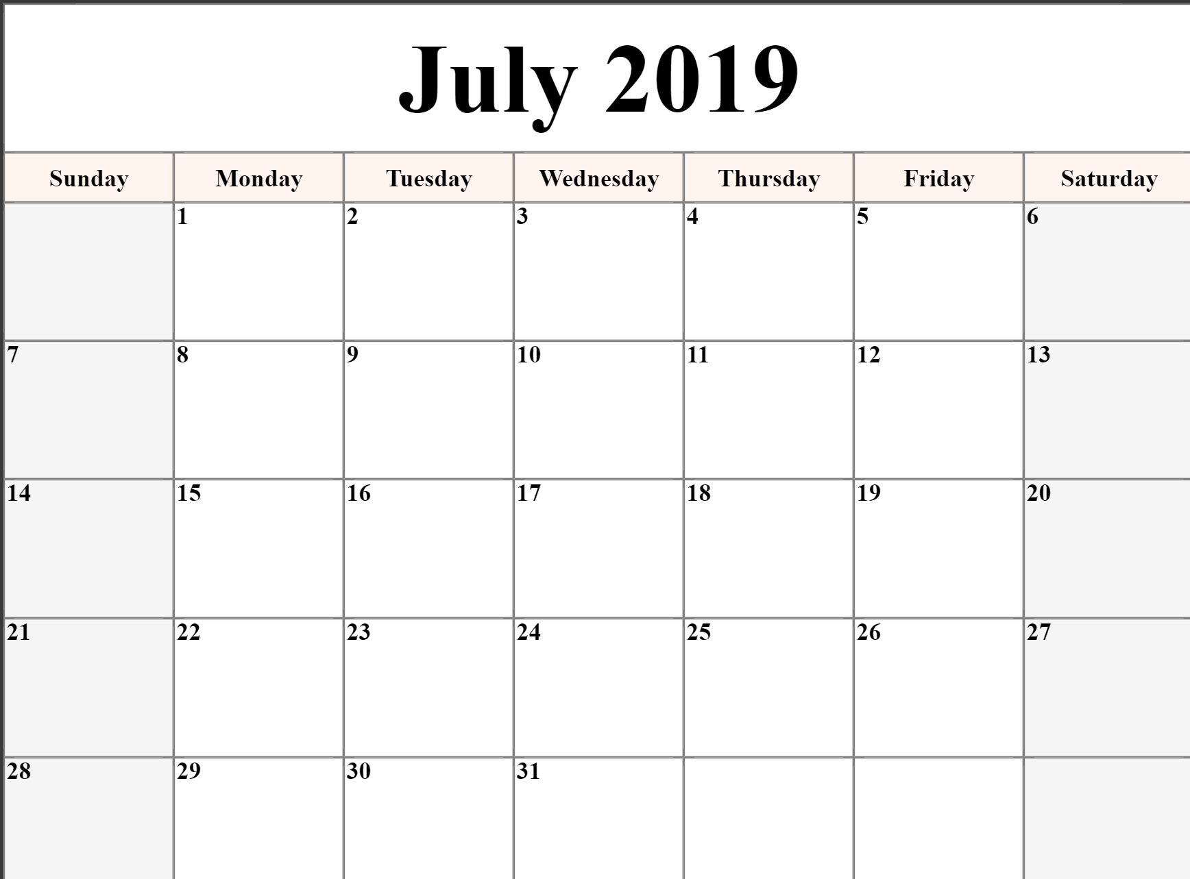 Editable July 2019 Calendar Blank Template Printable Word Pdf Excel intended for Caleners From July 2019 -December 2020 Free Printable