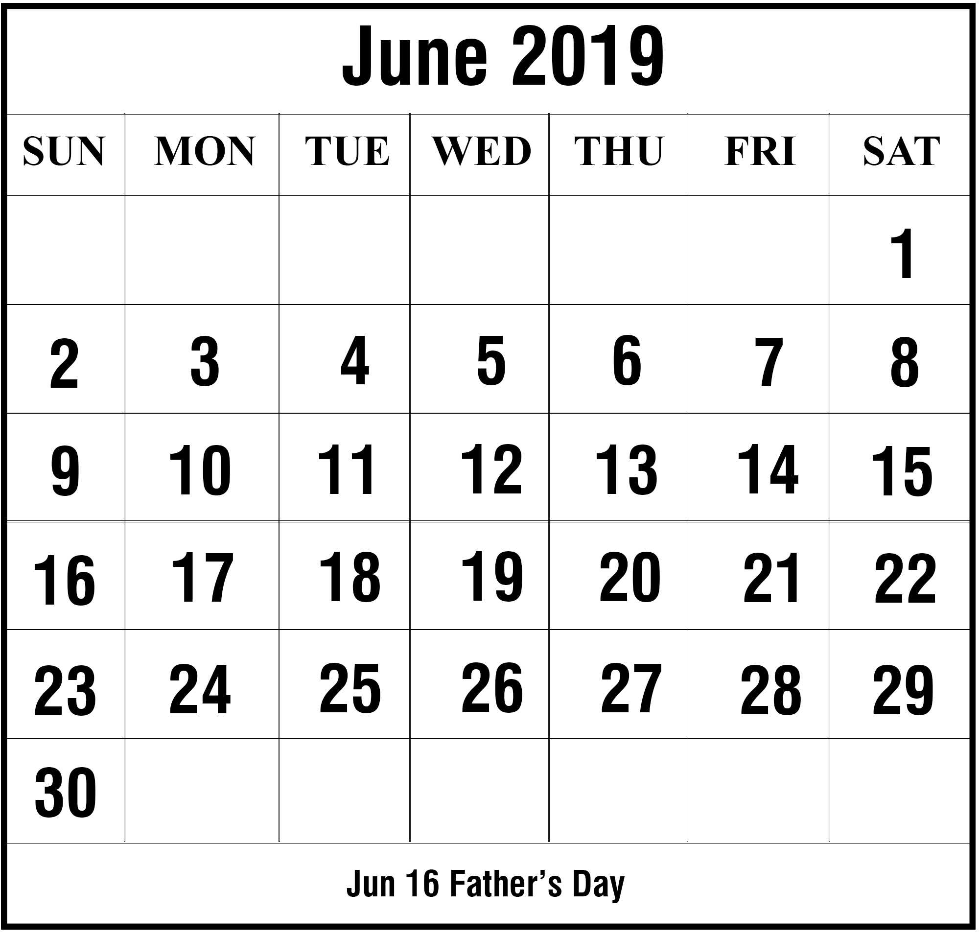 Editable June 2019 Calendar Printable Template With Holidays with regard to Free At A Glance Editable Calendar July 2019-June 2020