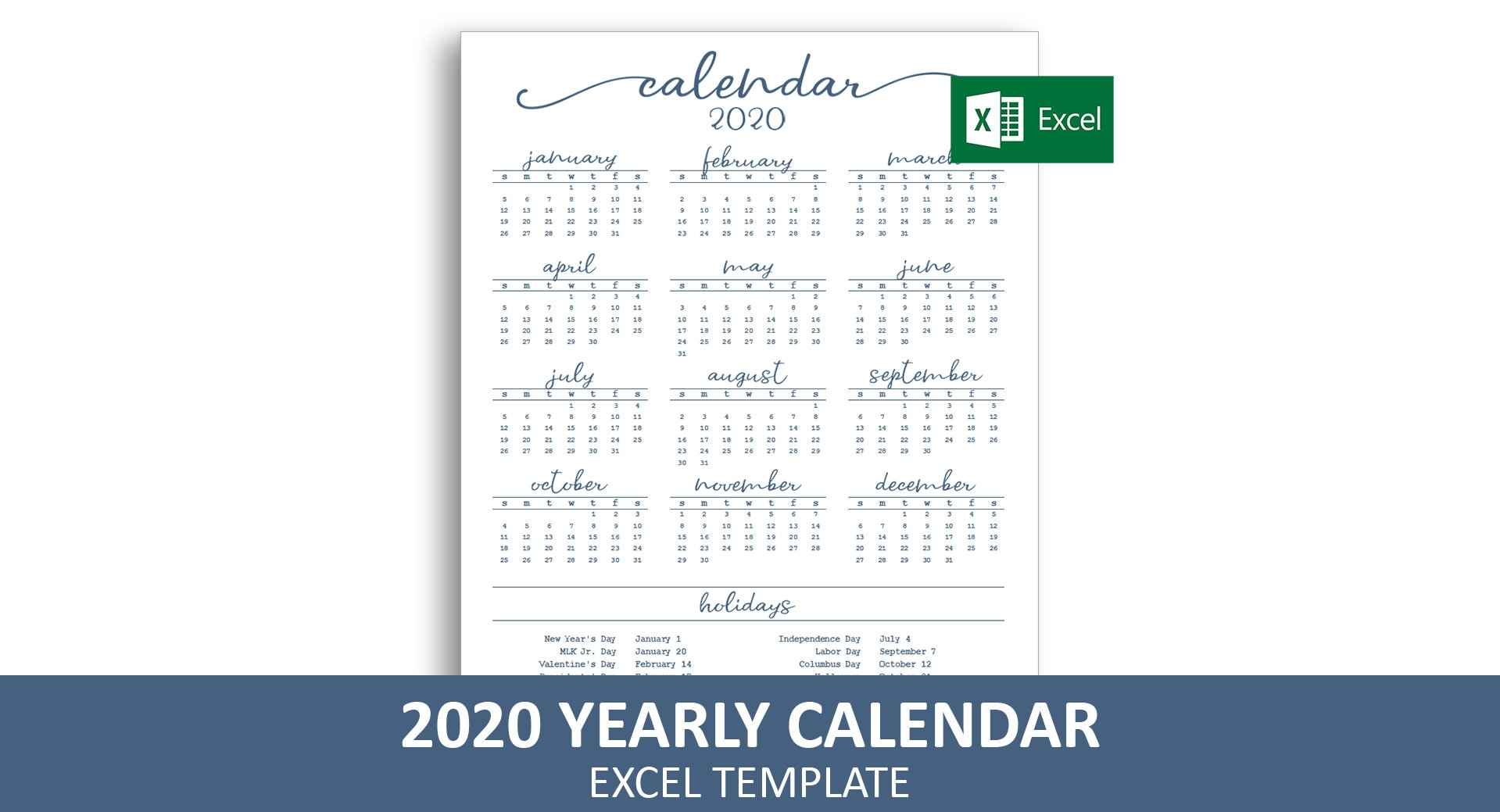 Elegant Yearly Calendar 2020 Excel Template Printable | Etsy with Calendar 2020 Excell Romania