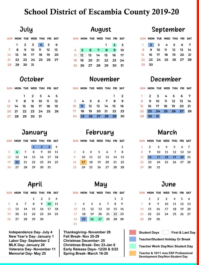 Escambia County Schools Calendar 2019-2020 | Us School Calendar pertaining to Uc Berkeley Academic Calendar 2019-2020