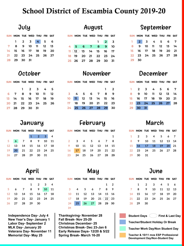 Escambia County Schools Calendar 2019-2020 | Us School Calendar with Uc Berkeley Calendar 2019 2020