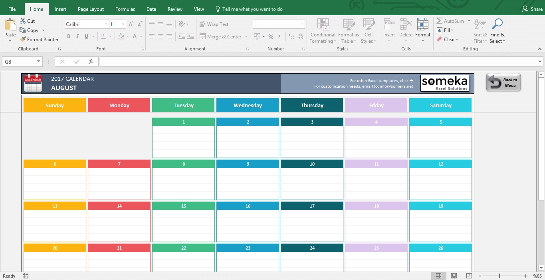 Excel Calendar Template 2019 - Free Printable Calendar regarding Excel 2020 Calendar Year Formula