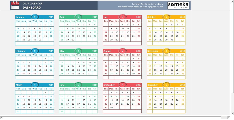 Excel Calendar Template 2019 - Free Printable Calendar with Excel 2020 Calendar Year Formula