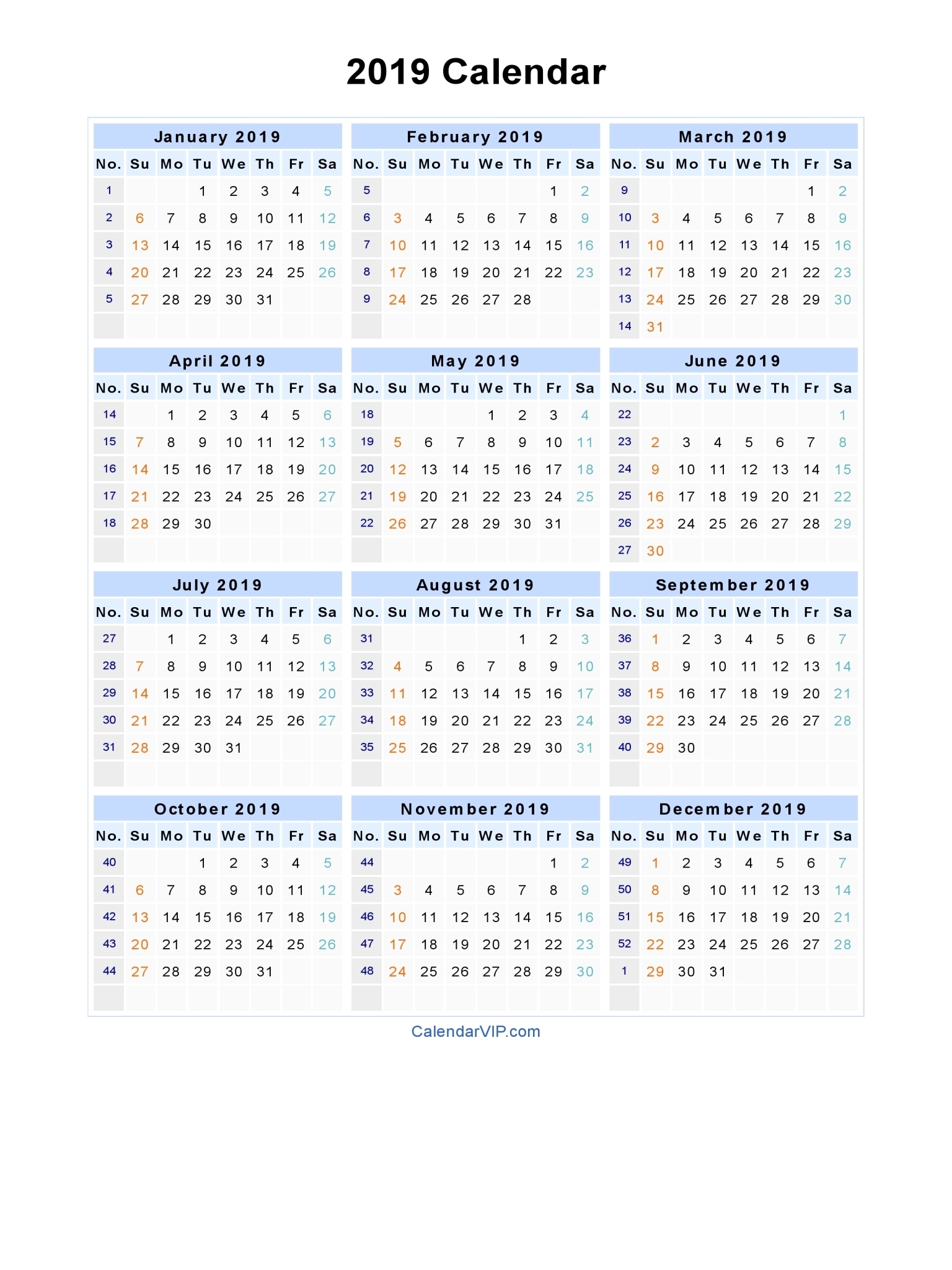 Excellent 35 Illustration 2019 Word Calendar Template | Blank with Microsoft Word Calendars 2019-2020