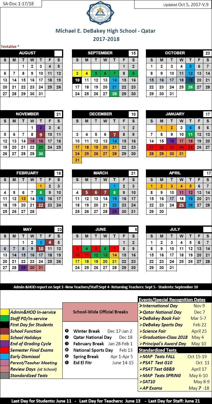 Exceptional School Calendar Qatar 2019 • Printable Blank Calendar inside School Year Calendar 2019-2020   Michael E. Debakey High