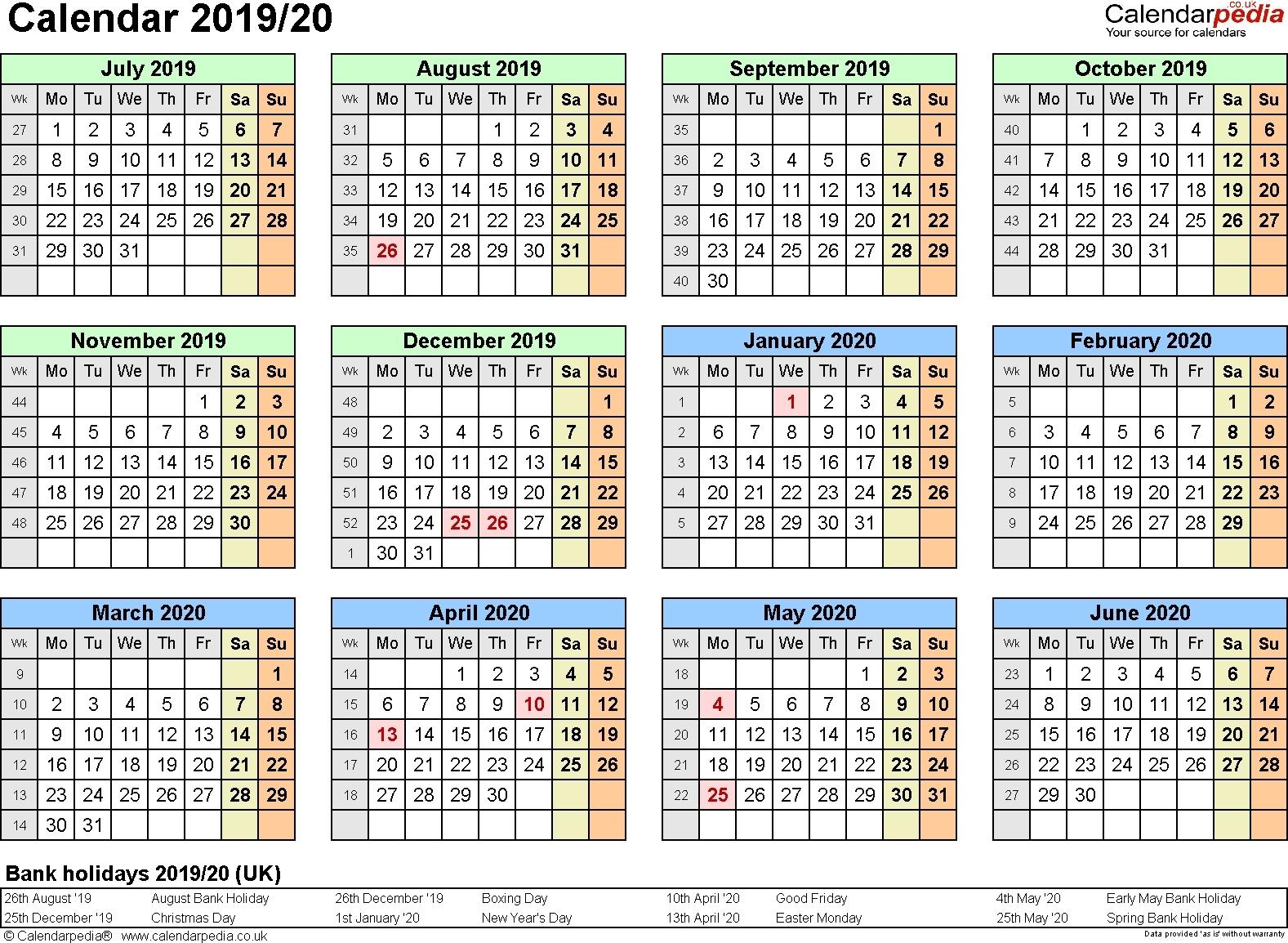 Extraordinary Calendar 2019 And 2020 Nz • Printable Blank Calendar with 2019-2020 Uga Calendar
