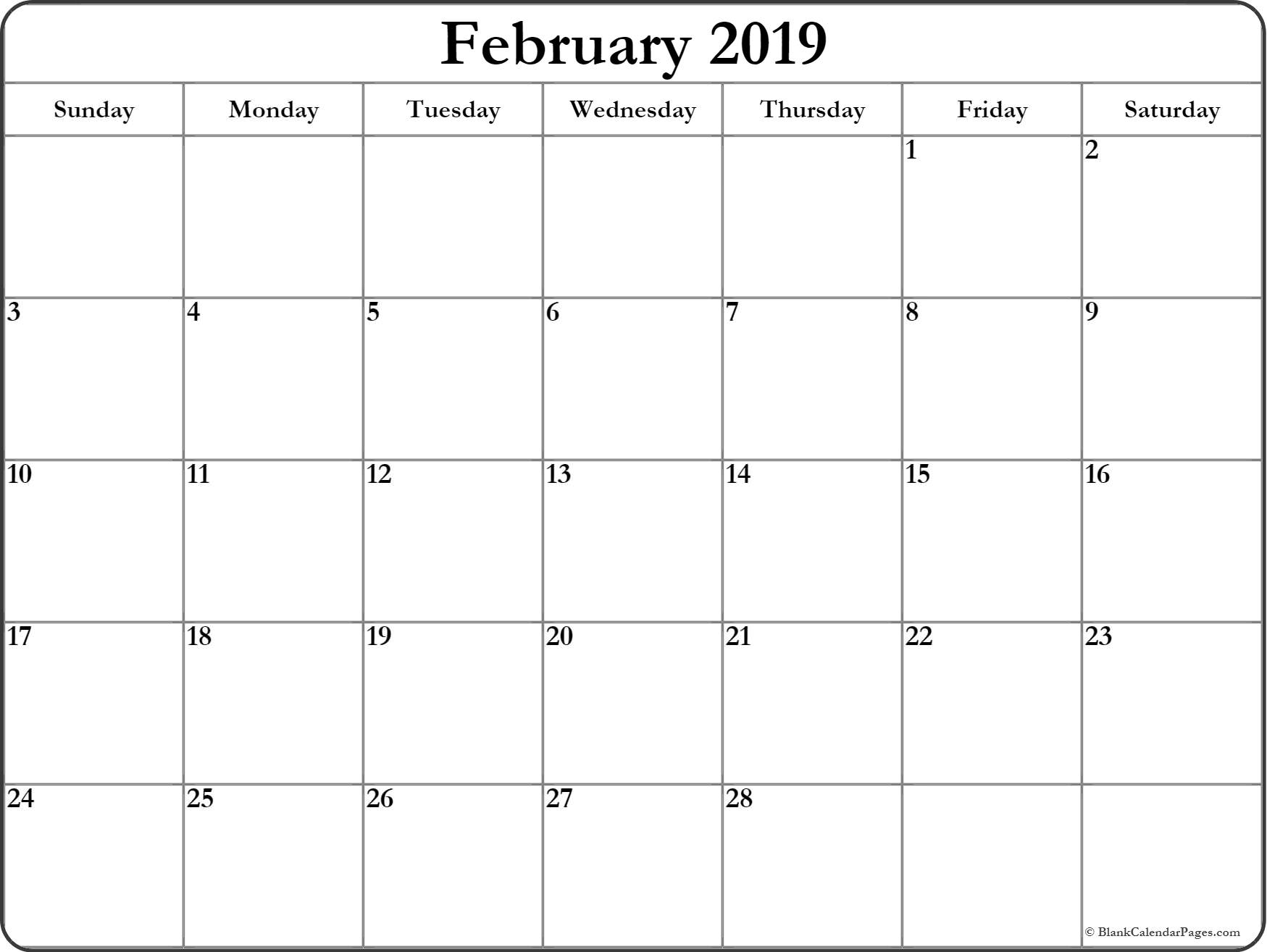 February 2019 Calendar | Free Printable Monthly Calendars for Free Printable Blank Calendar Month 1