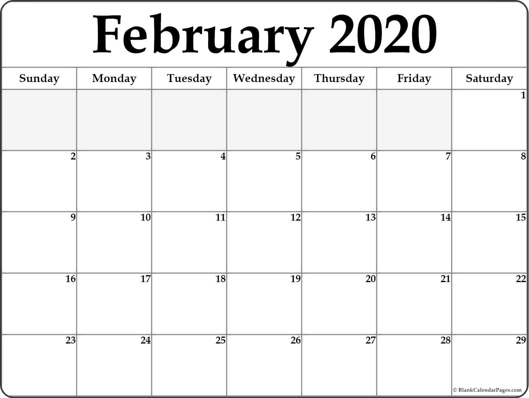 February 2020 Calendar | Free Printable Monthly Calendars for Calendar 2020 Large Box