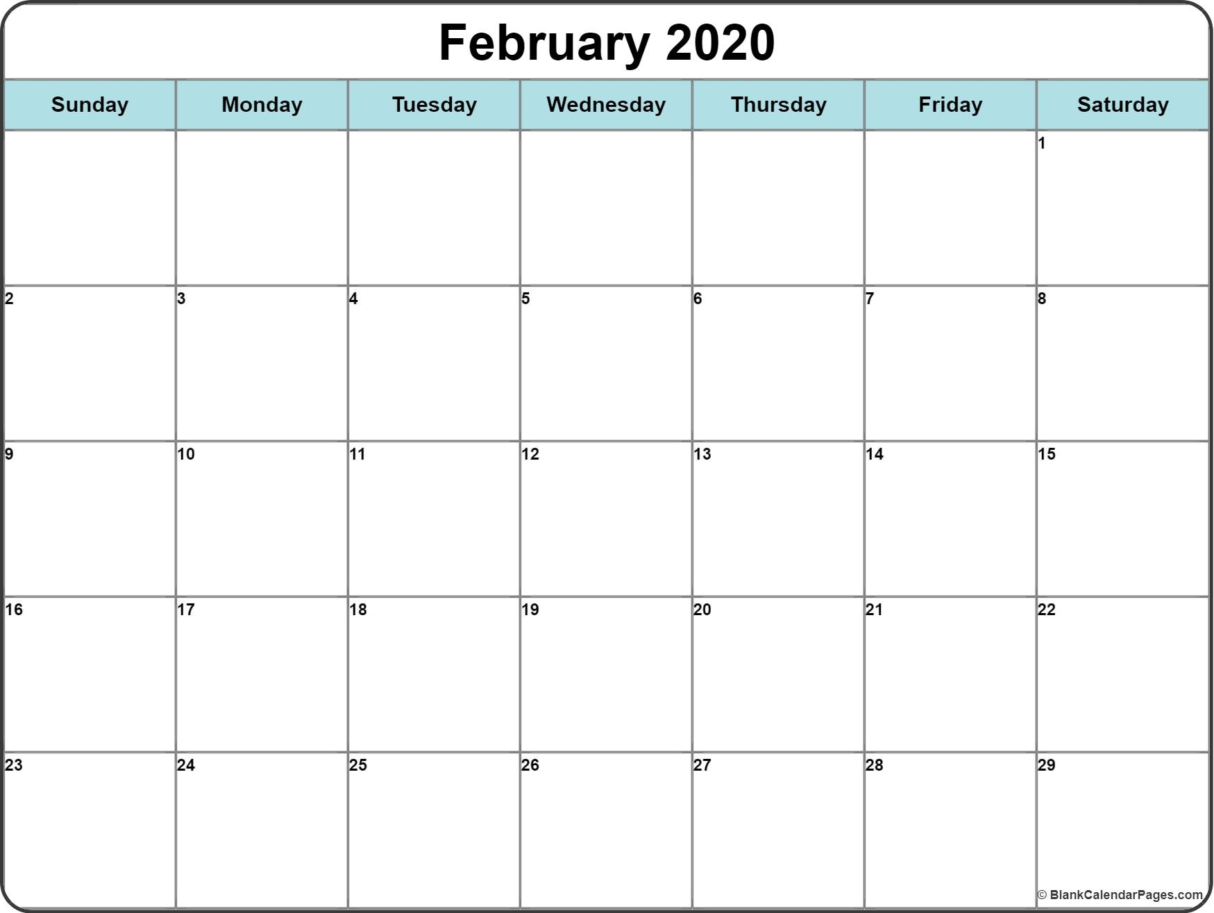 February 2020 Calendar | Free Printable Monthly Calendars throughout 2020 Calendar With Space To Write