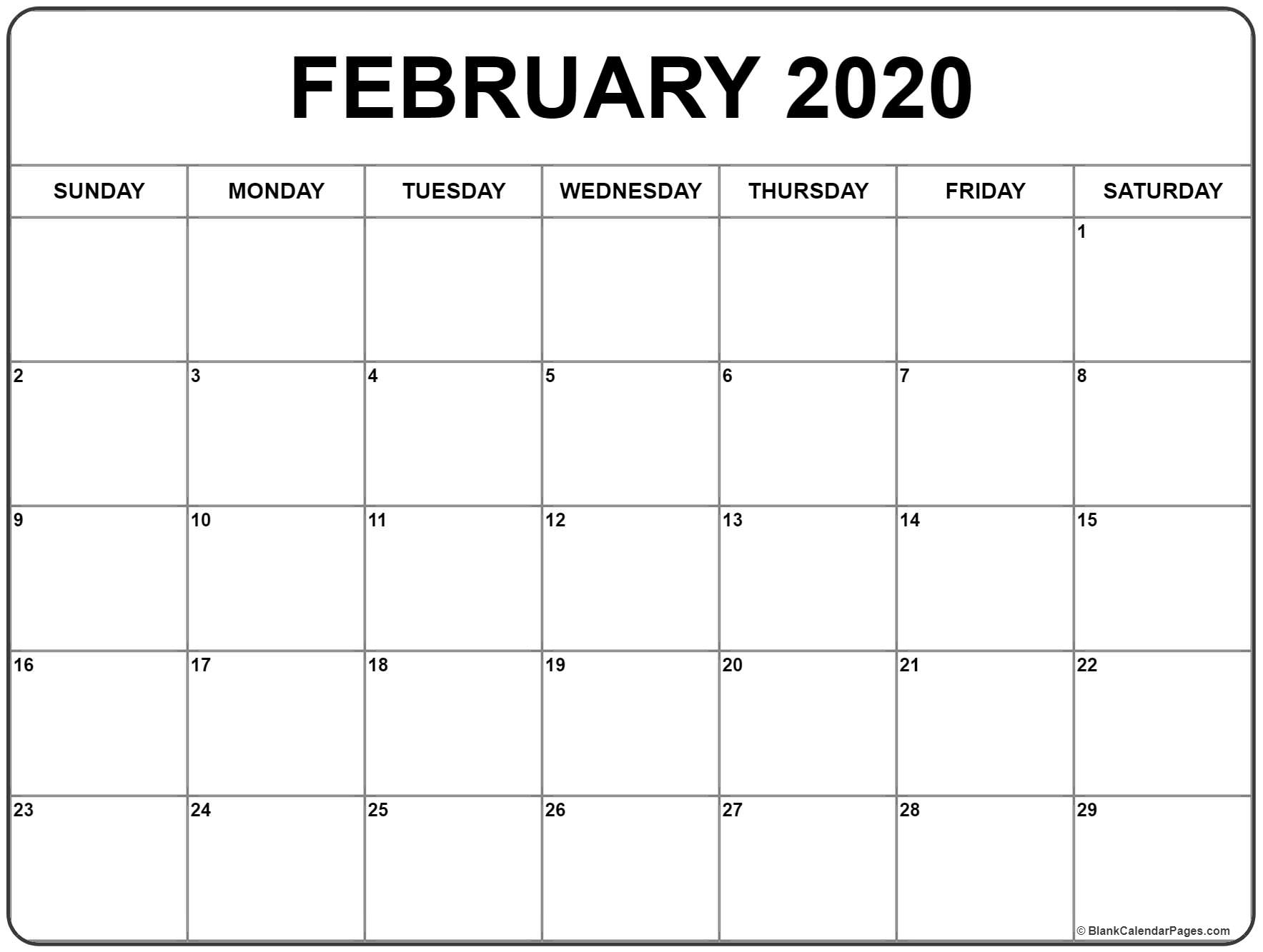 February 2020 Calendar | Free Printable Monthly Calendars with Large Printable Calendar 2020