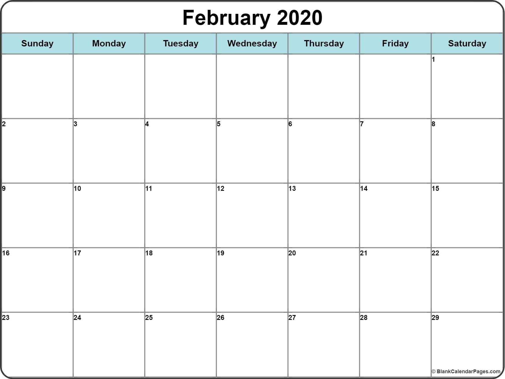 February 2020 Calendar | Free Printable Monthly Calendars with regard to Free Printable 2020 Calendar With Space To Write
