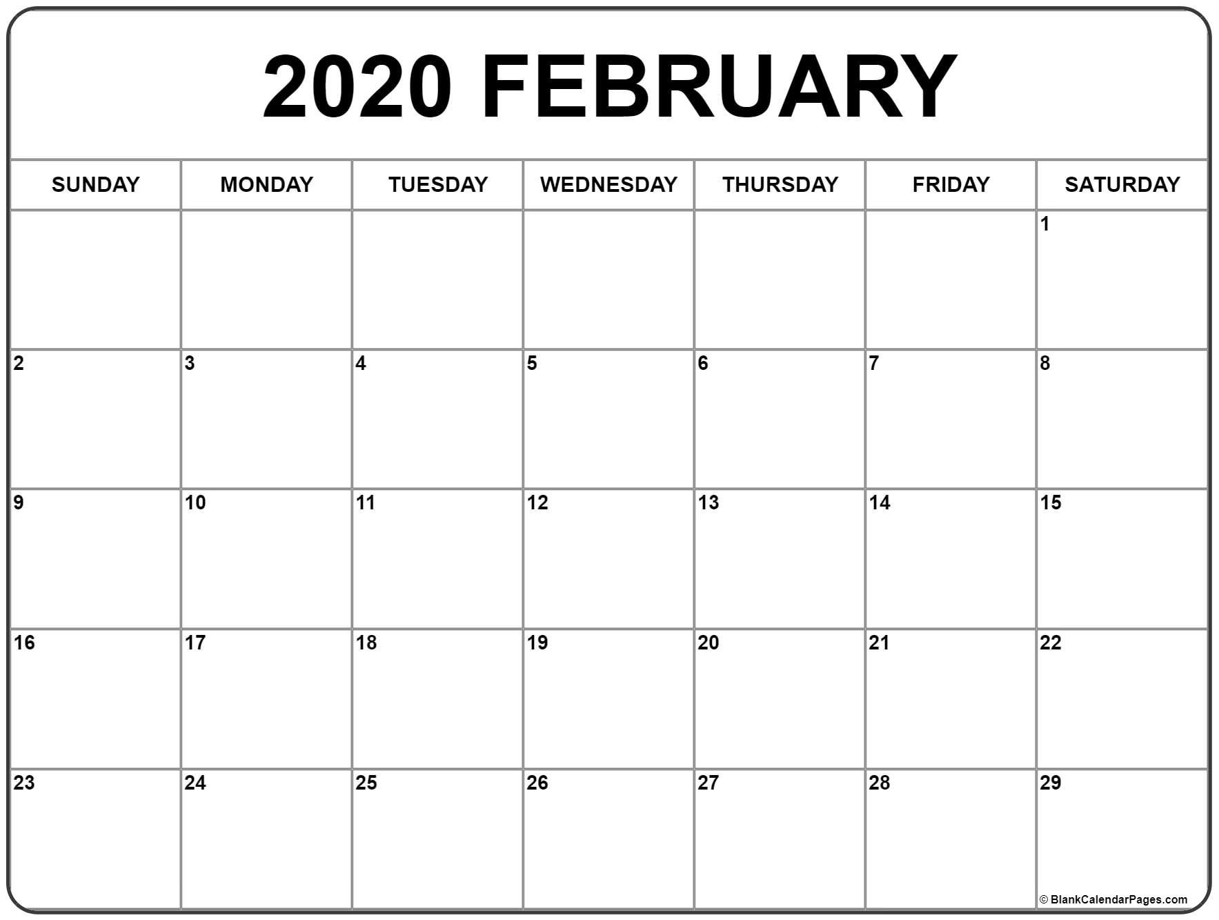 February 2020 Calendar | Free Printable Monthly Calendars within Free Printable 2020 Calendar With Space To Write