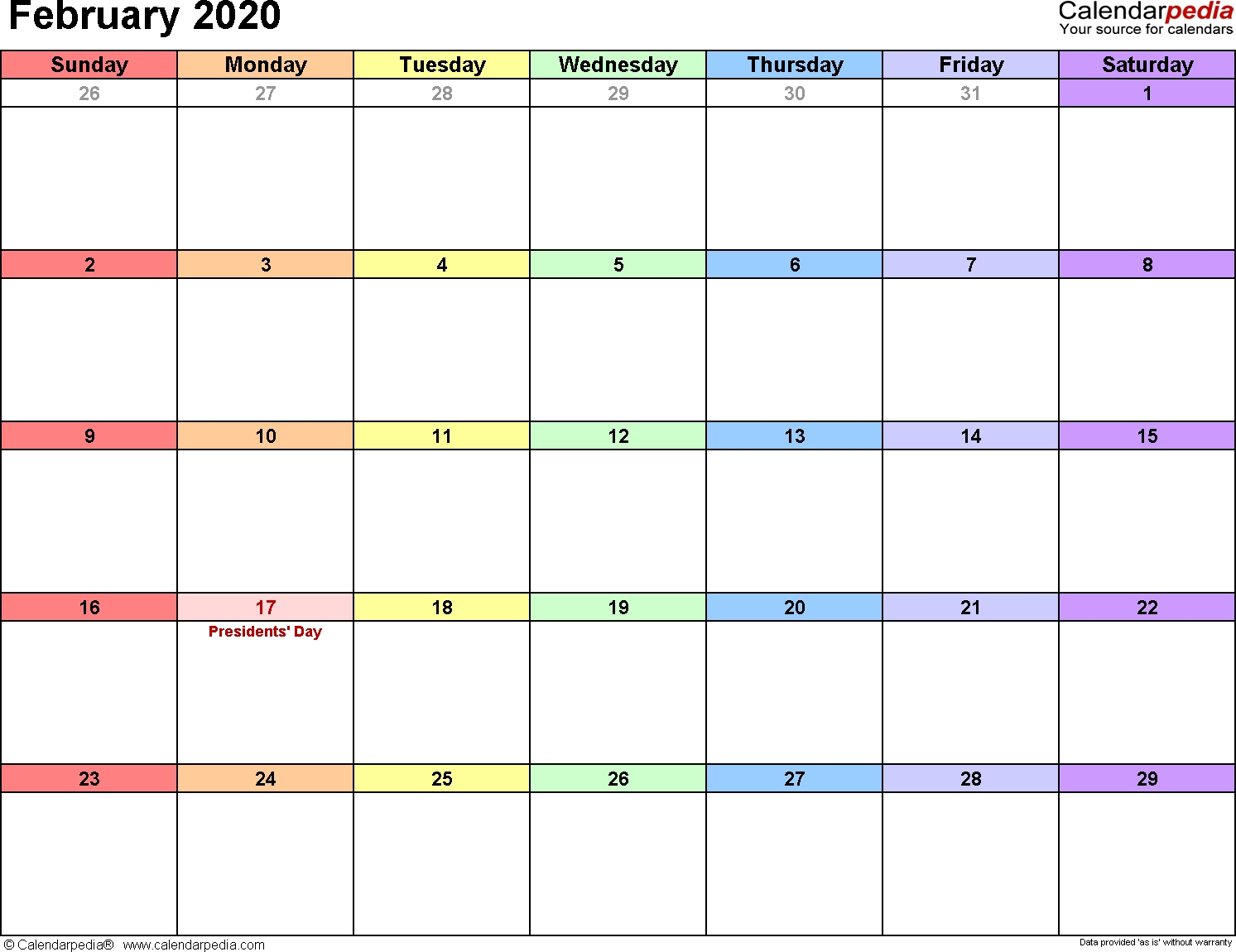 February 2020 Calendars For Word, Excel & Pdf for 2020 Free Printable Emploee Calendars