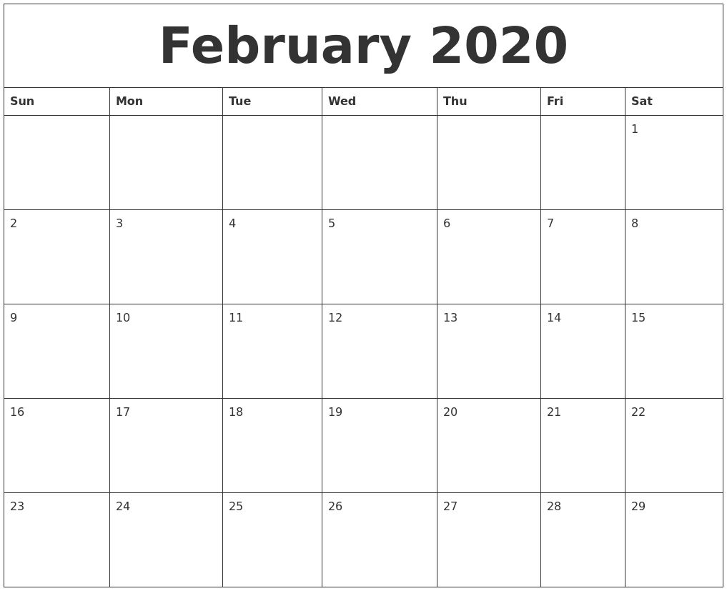 February 2020 Large Printable Calendar with 2020 Free Printable Calendar Large Numbers