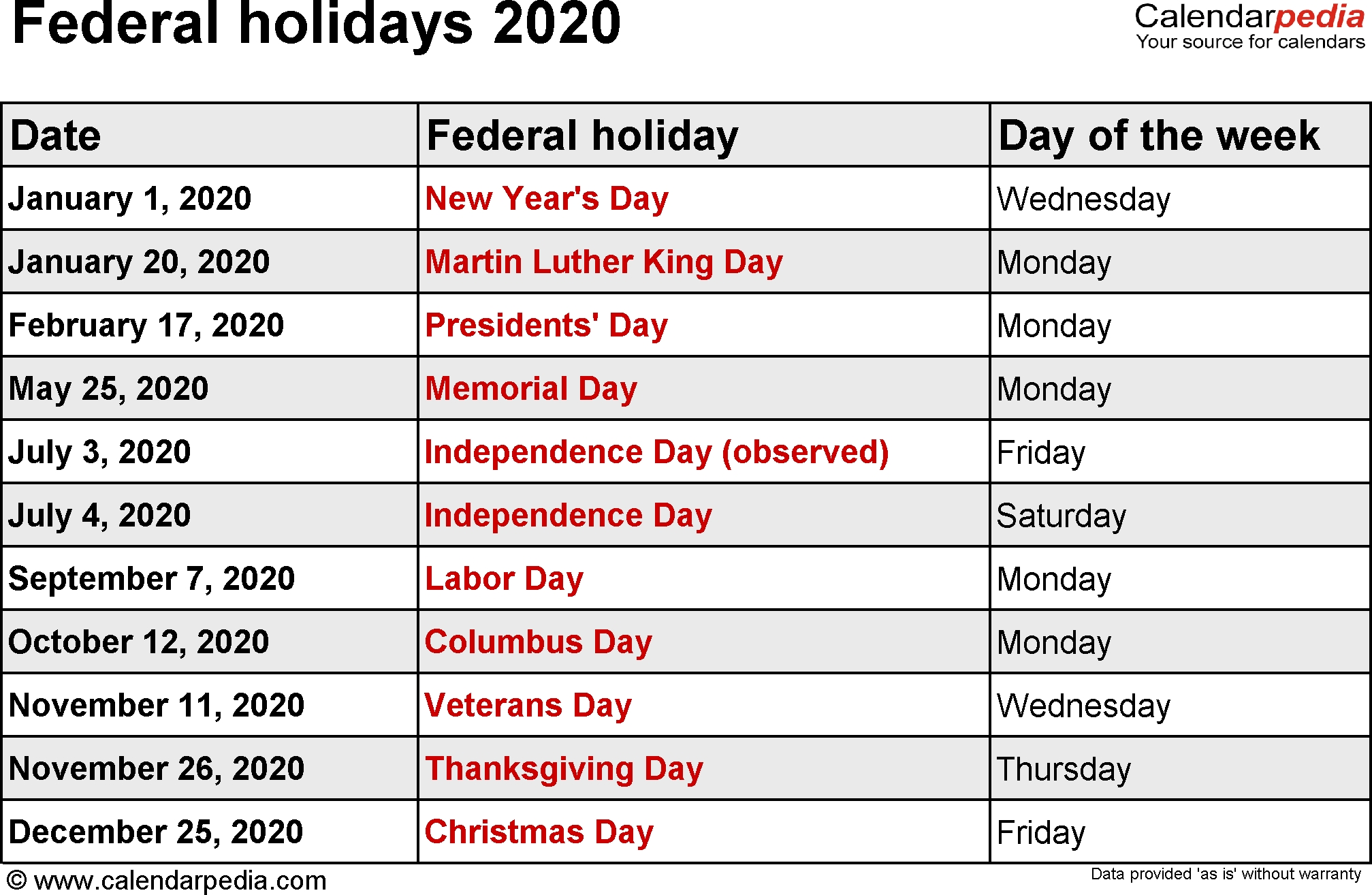 Federal Holidays 2020 regarding Special Days Of The Year 2020