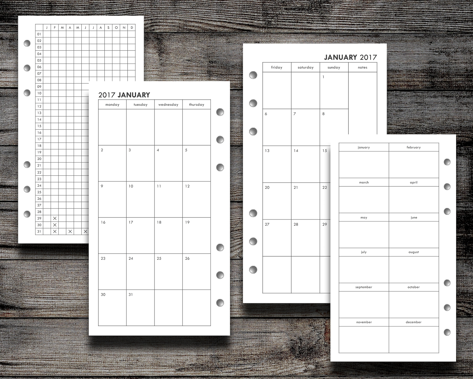 Filofax Freebie: 2017 Month On Two Page (Personal, Pocket, And Half in Free Printable Pocket Size Calendars